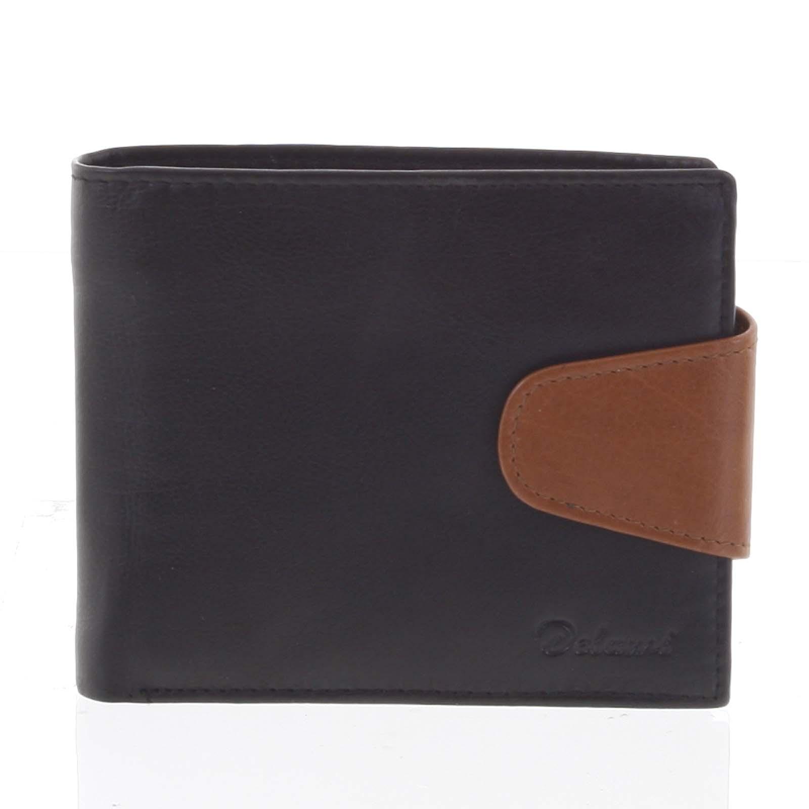 Pánská kožená peněženka černo hnědá - Delami 11816