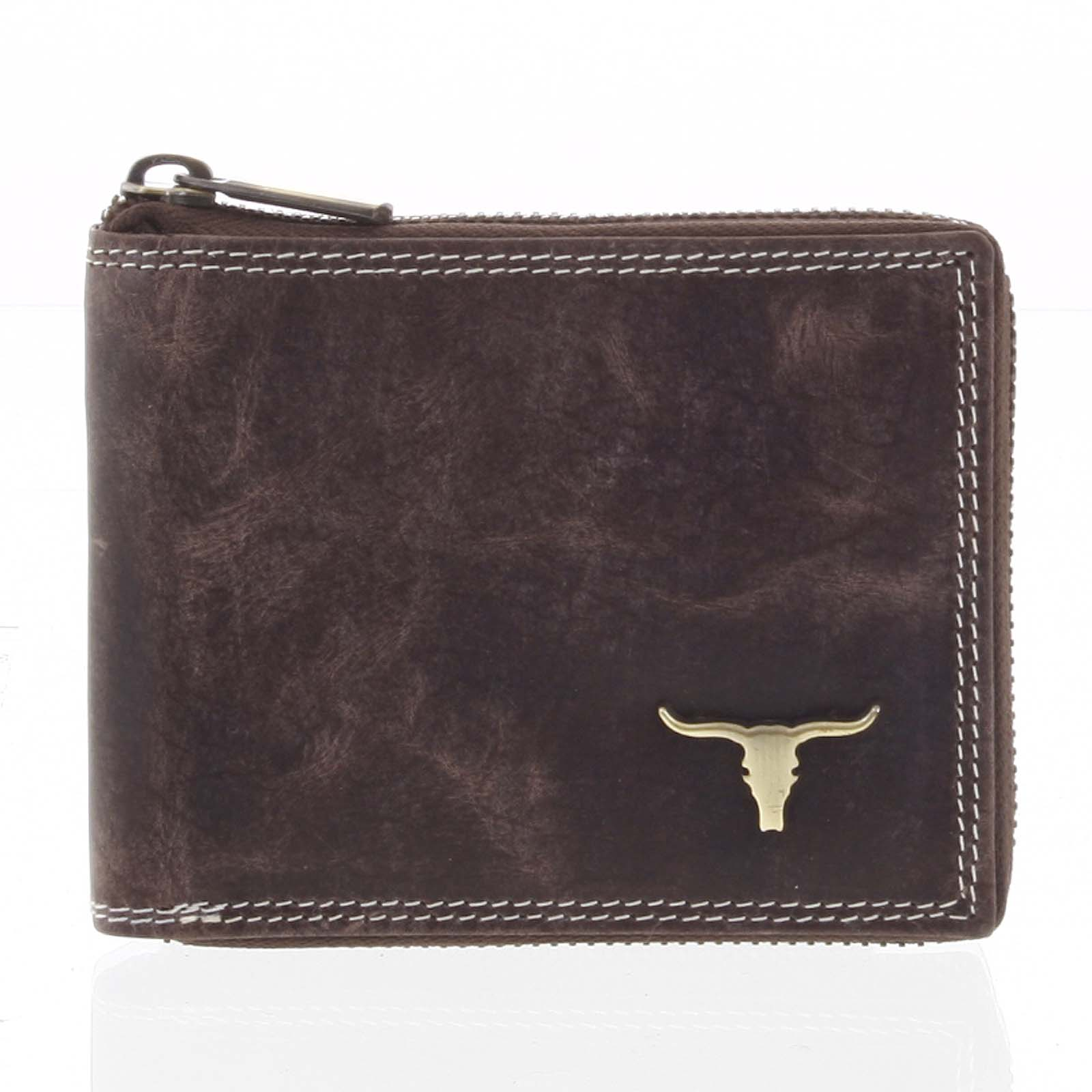 Pánská kožená broušená peněženka na zip hnědá - BUFFALO Talehot