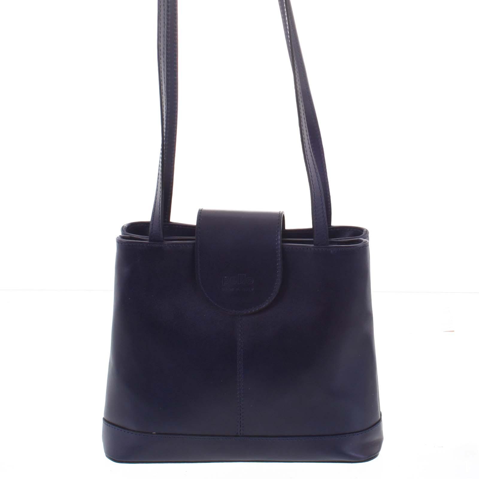 Kožená dámská tmavě modrá kabelka přes rameno - ItalY Zenna