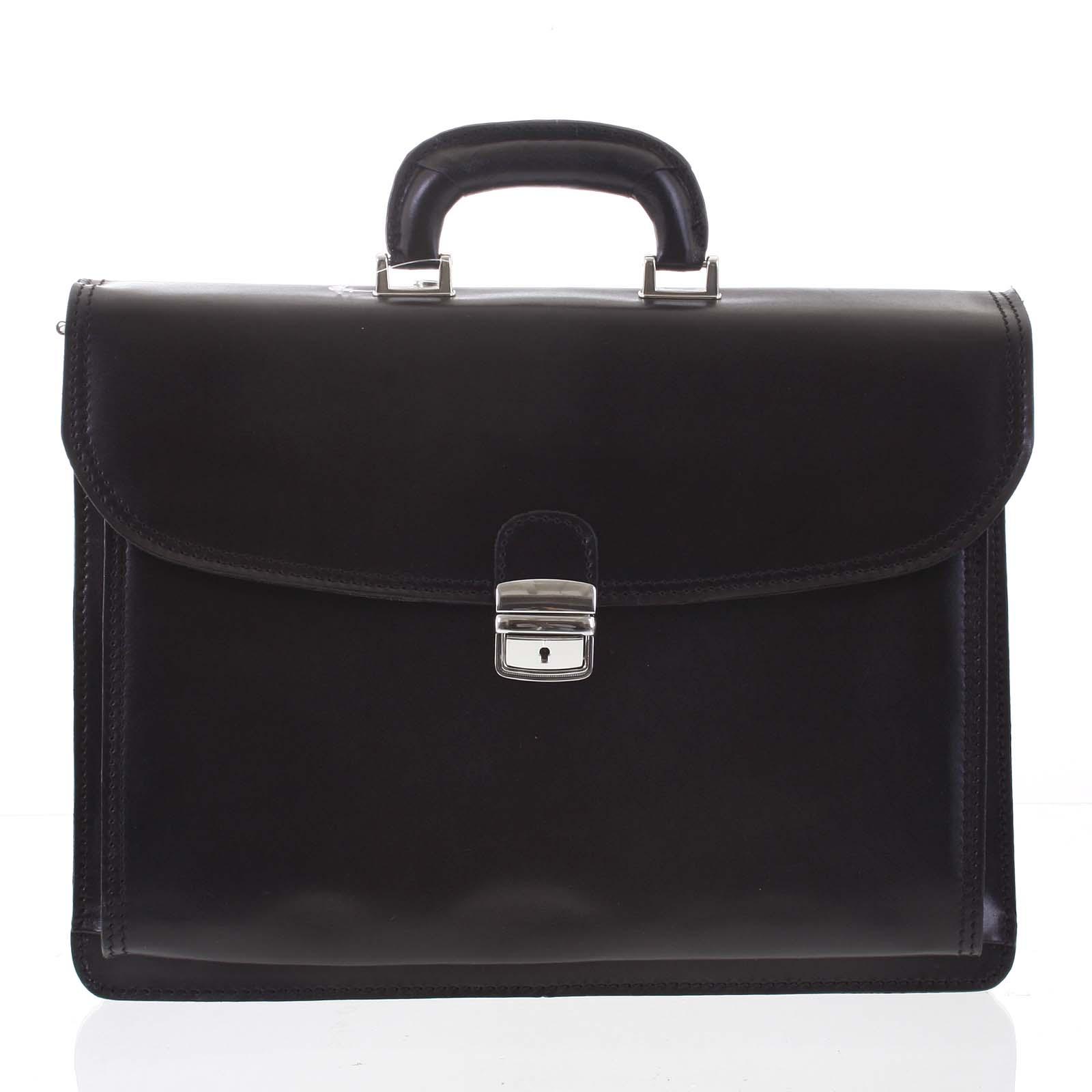Pánská kožená aktovka černá - ItalY K3016