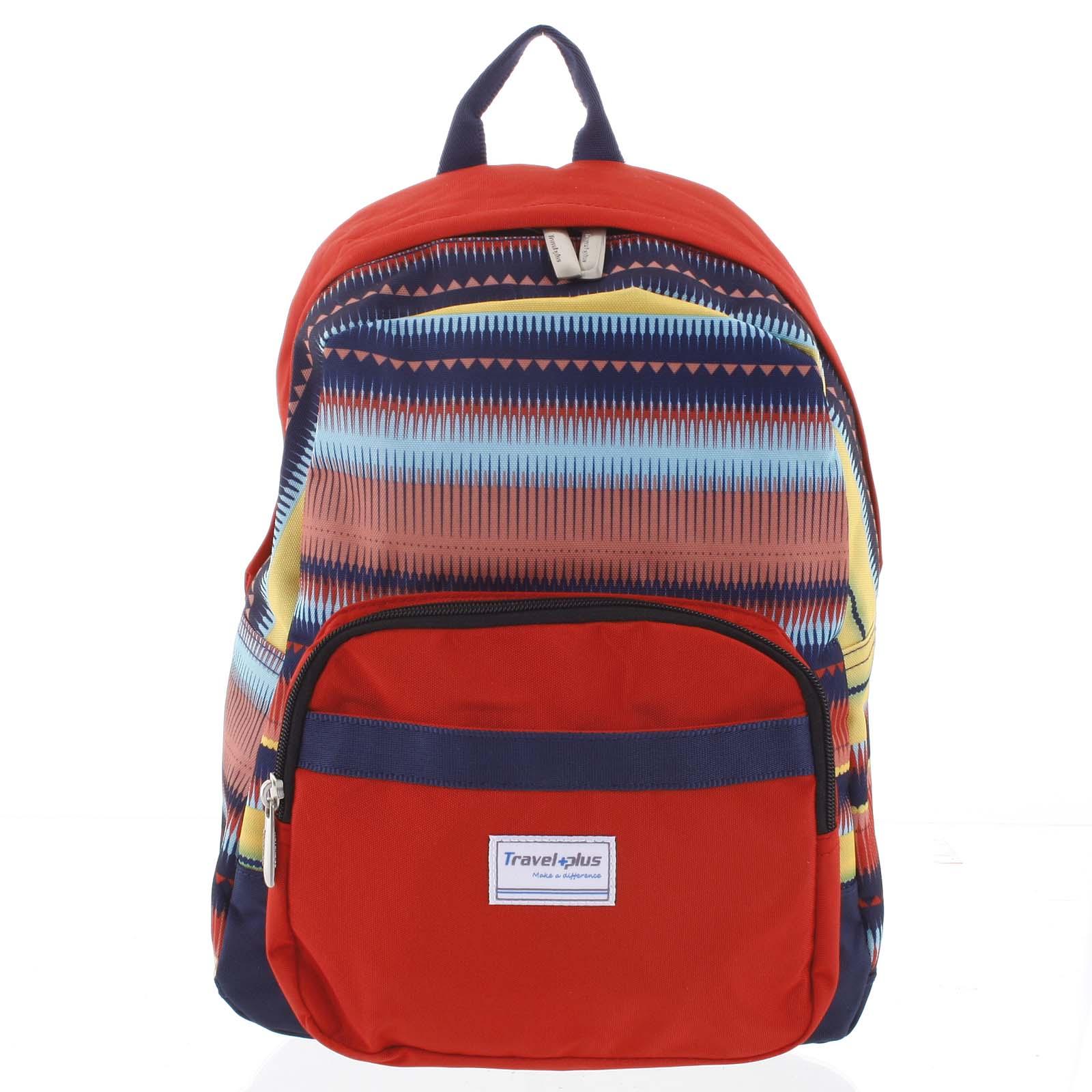 Střední dámský červený batoh na výlety - Travel plus 0643