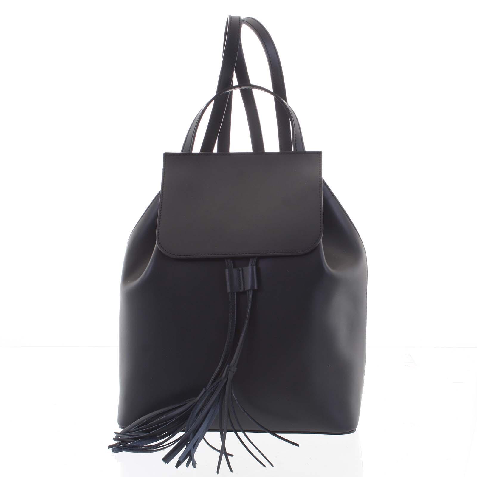 Luxusní dámský batoh černý kožený - ItalY Adelpha