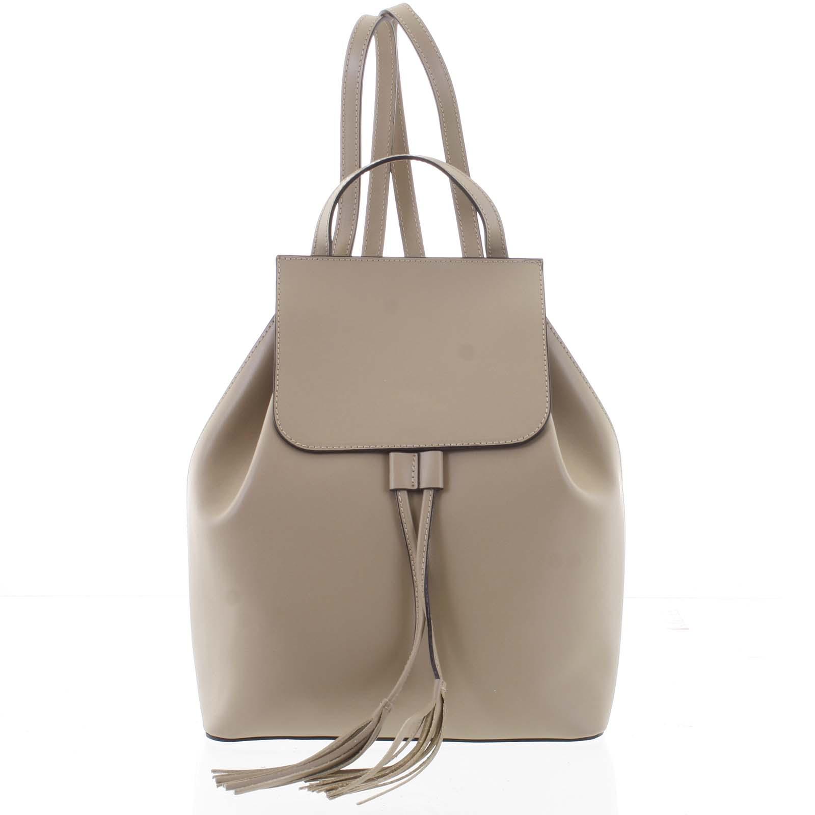 Luxusní dámský batoh taupe kožený - ItalY Adelpha