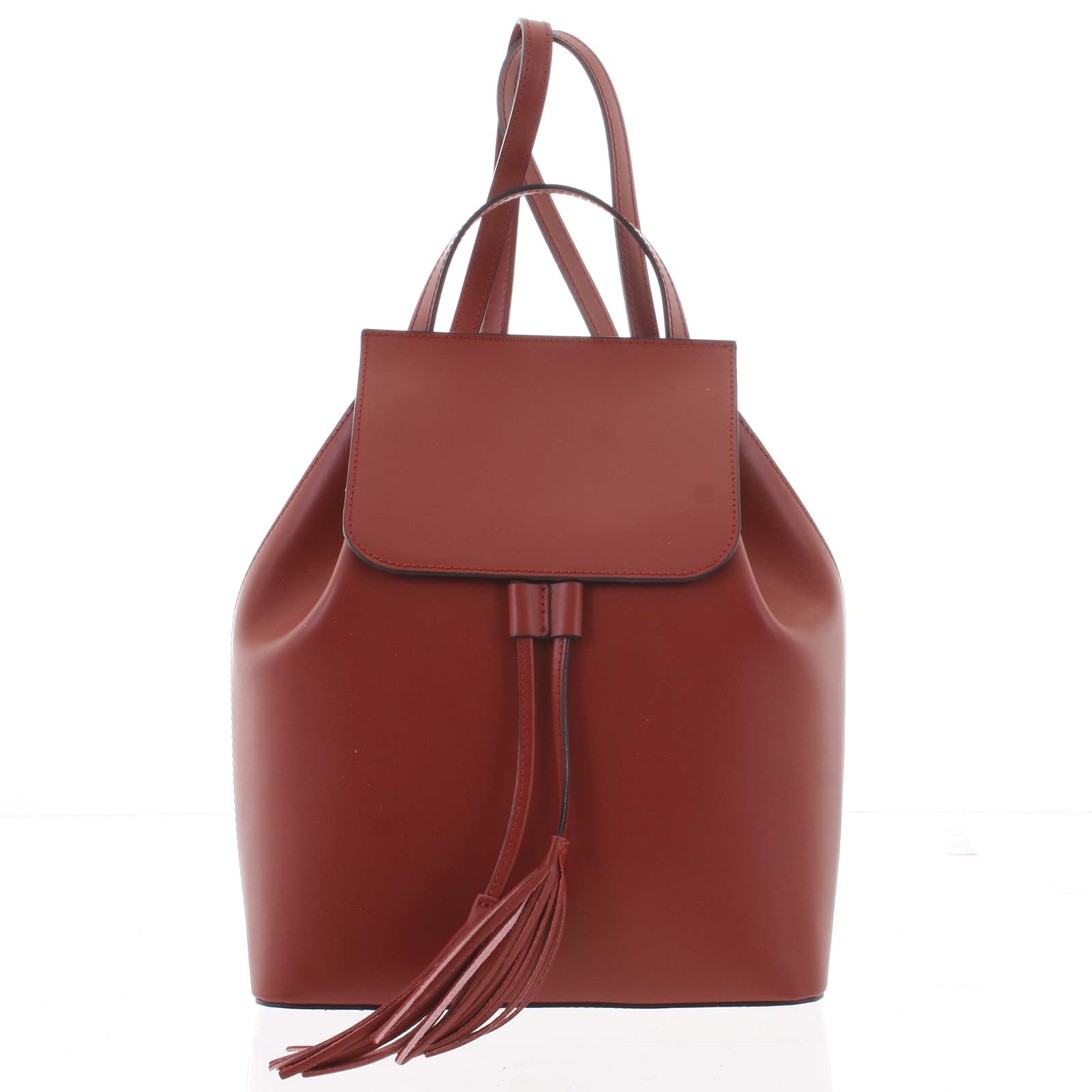 Luxusní dámský batoh tmavě červený kožený - ItalY Adelpha
