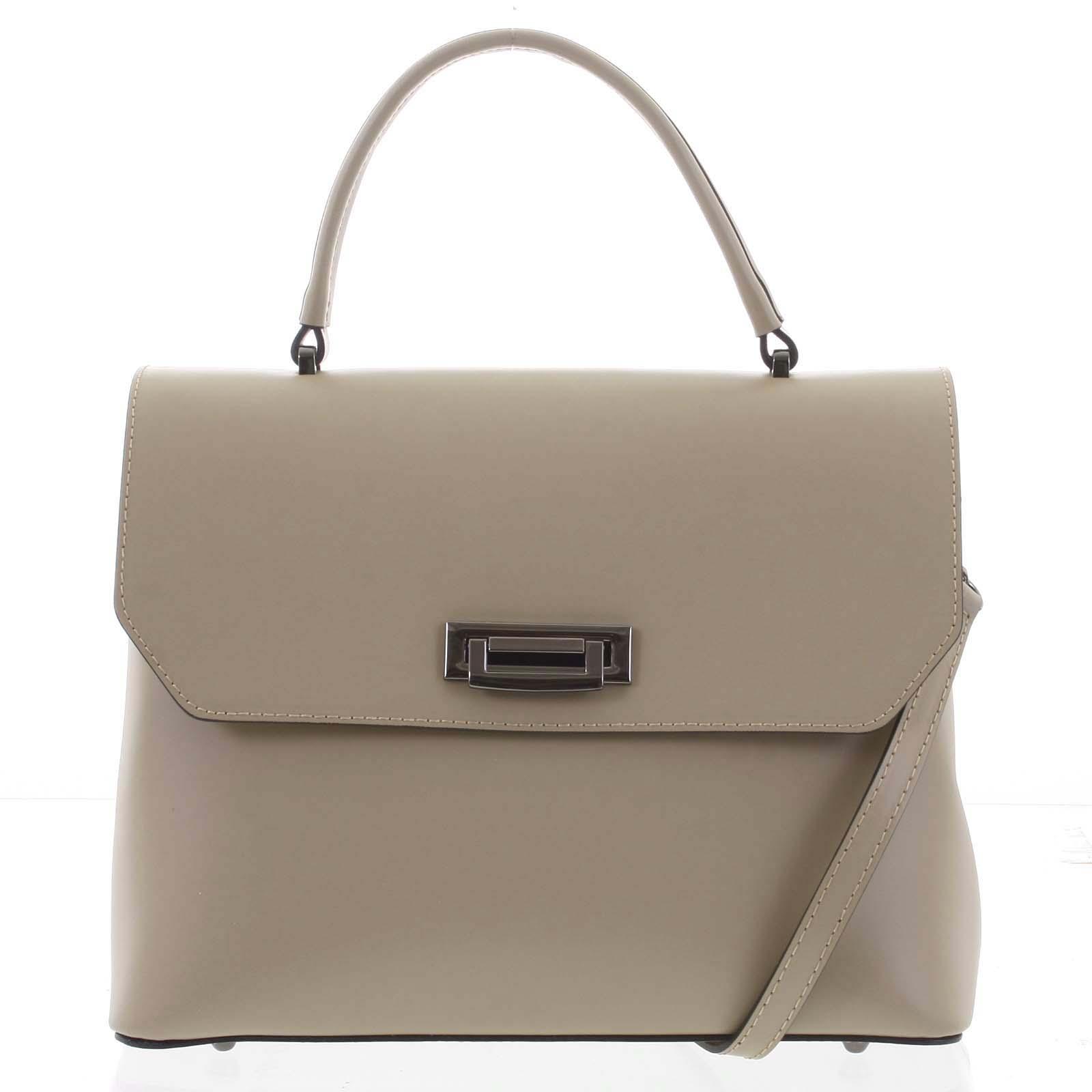 Originální hladká taupe dámská kabelka do ruky - ItalY Neolila
