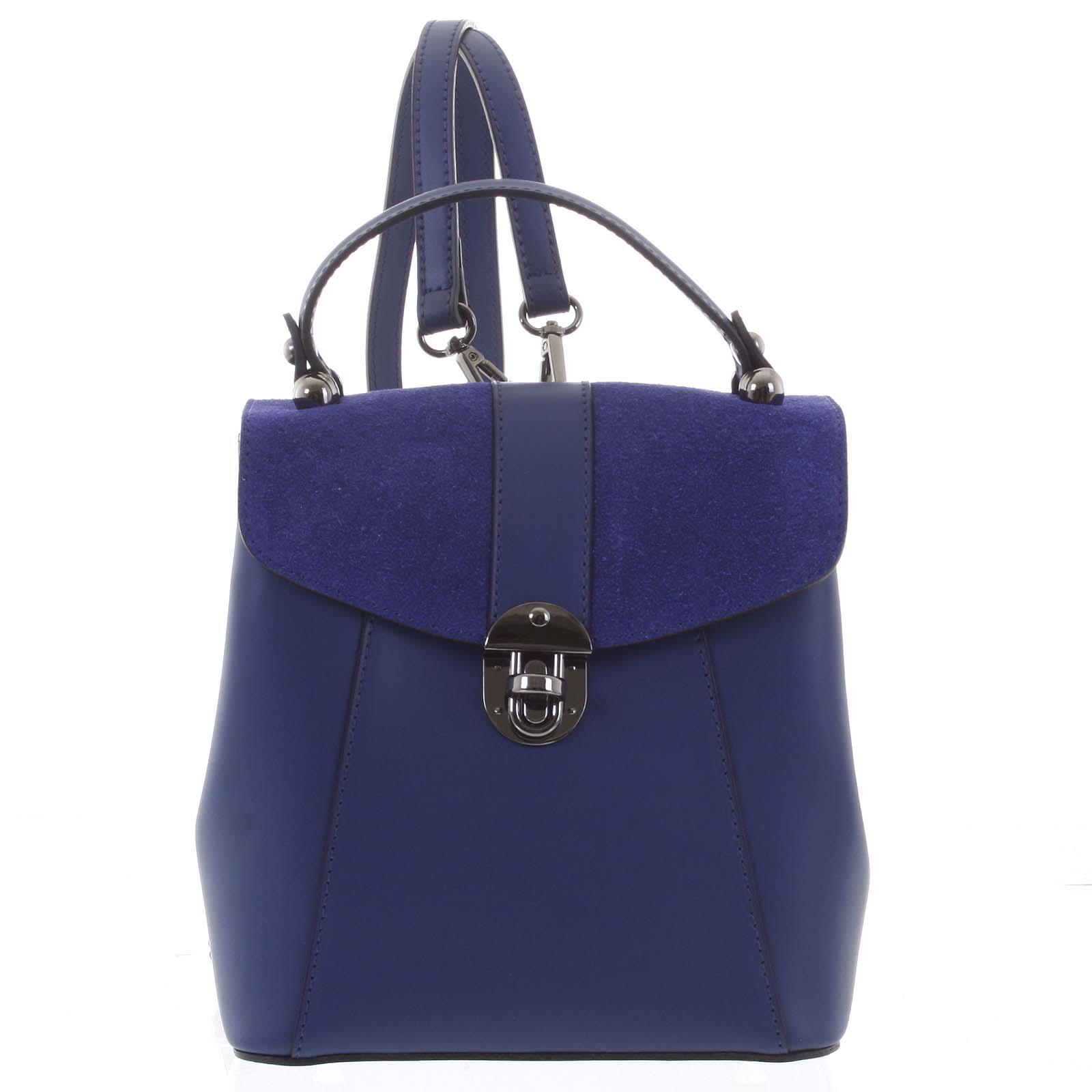 Dámský originální kožený tmavě modrý batůžek/kabelka - ItalY Acnes