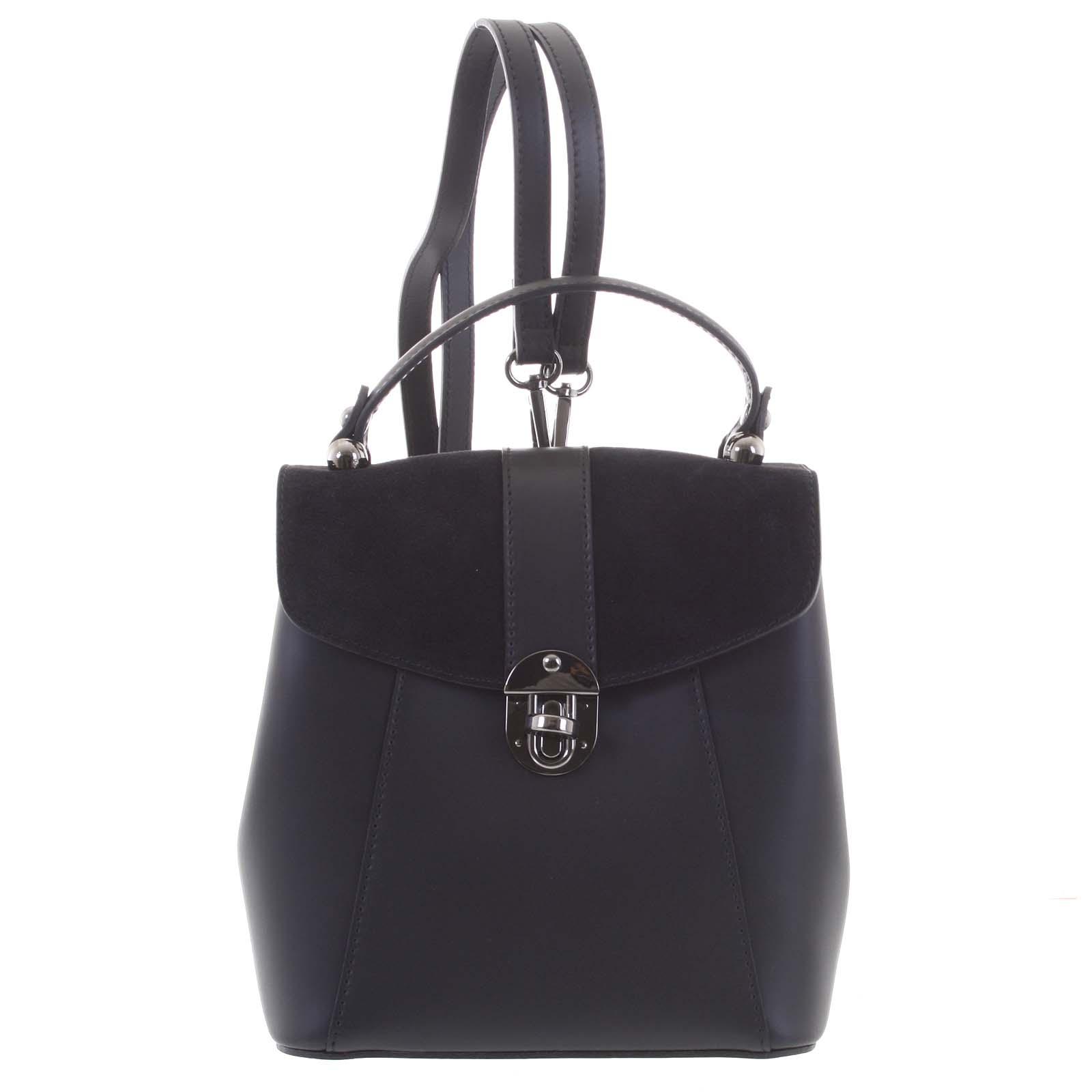 Dámský originální kožený černý batůžek/kabelka - ItalY Acnes