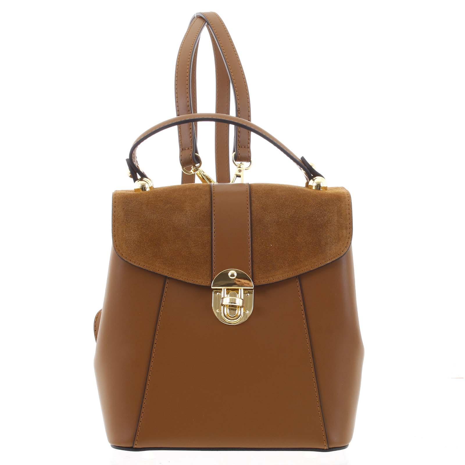 Dámský originální kožený hnědý batůžek/kabelka - ItalY Acnes