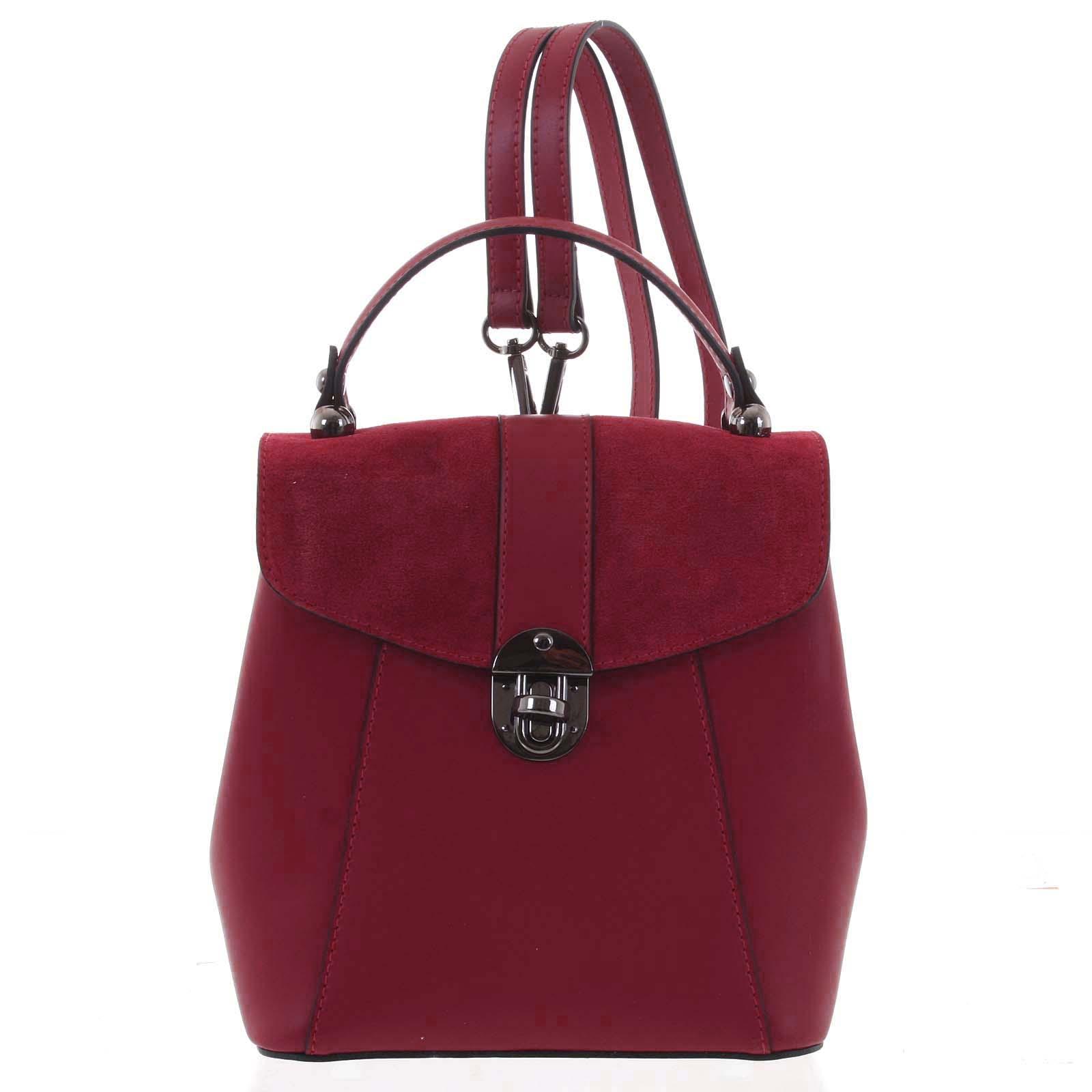 Dámský originální kožený červený batůžek/kabelka - ItalY Acnes