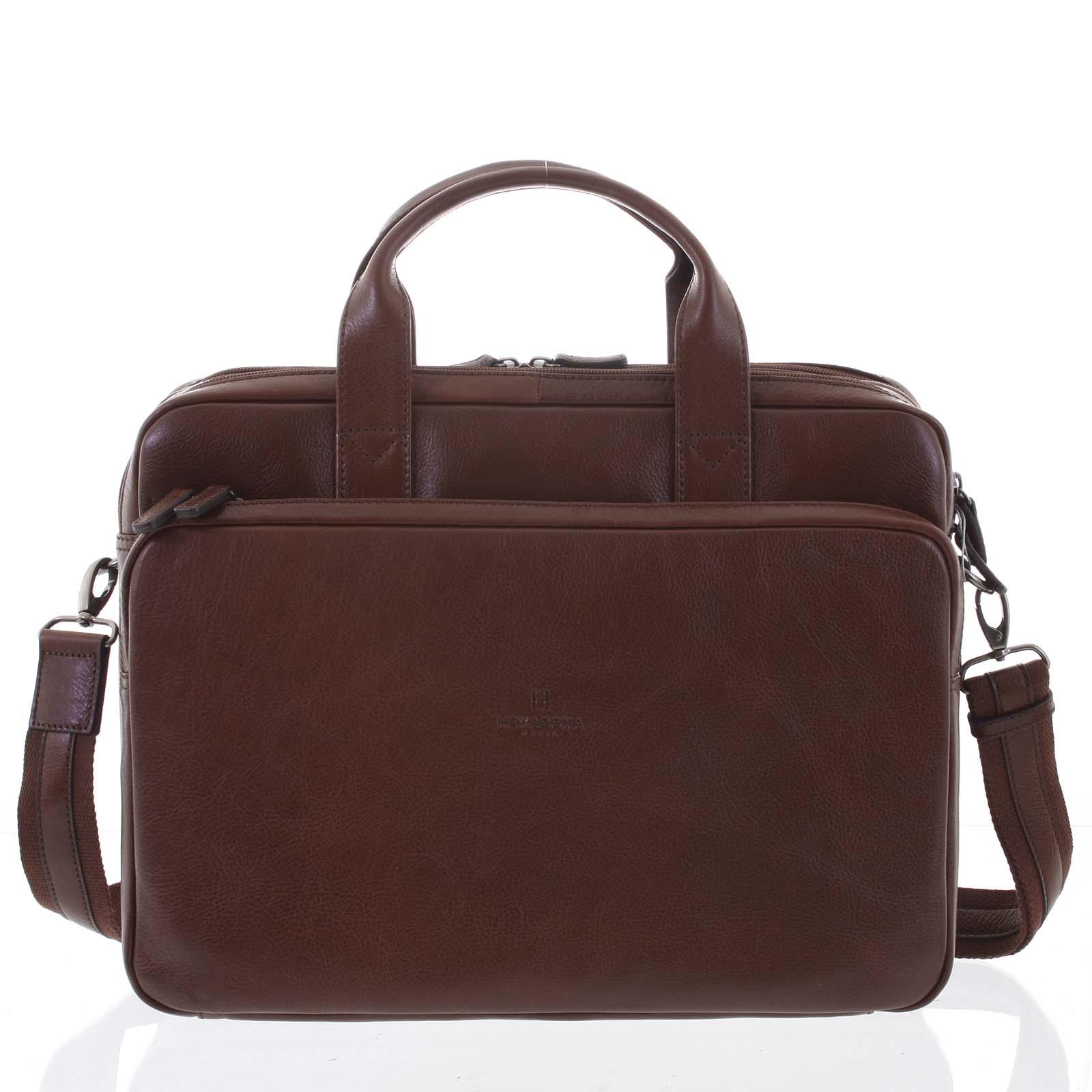 Luxusní hnědá prošívaná kožená taška - Hexagona Adonis