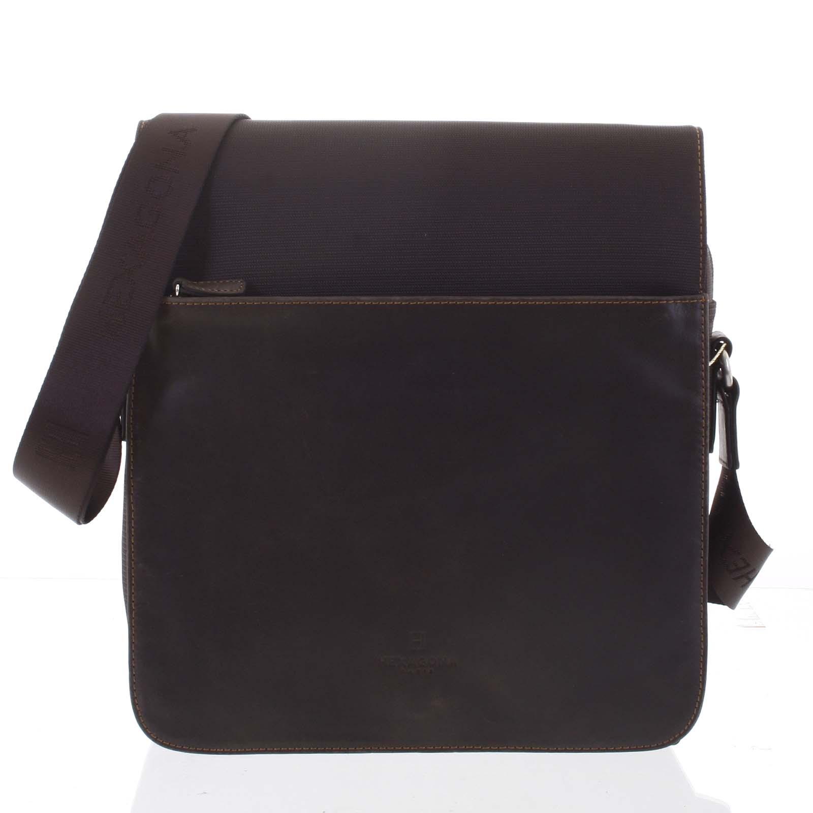Moderní polokožená kožená taška hnědá - Hexagona Cendrik