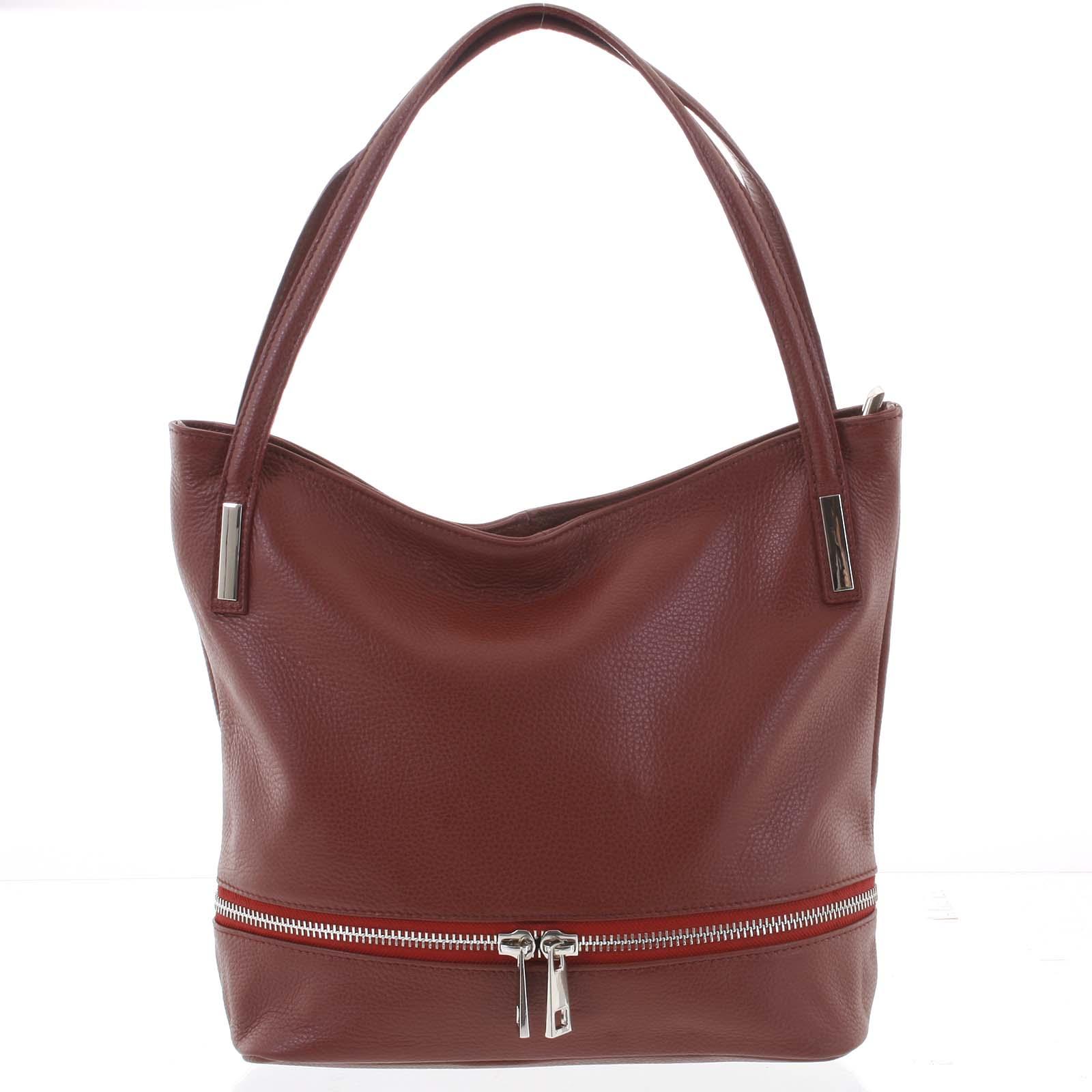 Dámská stylová kožená kabelka přes rameno vínová - ItalY Acness