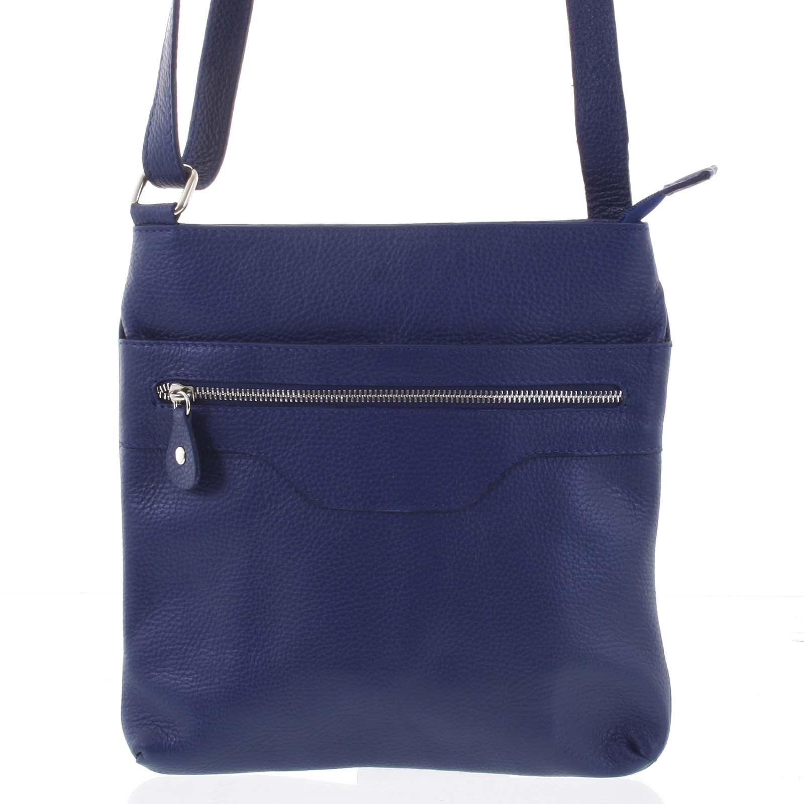 Dámská měkká kožená crossbody kabelka tmavě modrá - ItalY Acantha