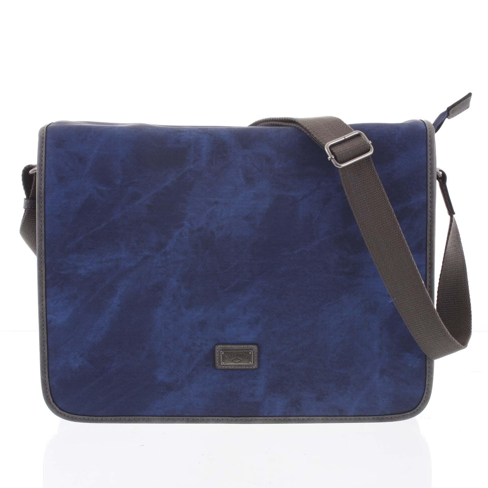 Velká modrá moderní taška na notebook - Lee Cooper Aesculapius