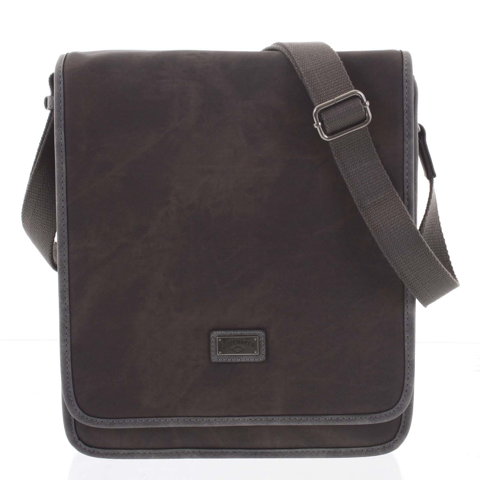 Tmavě hnědá moderní pánská taška přes rameno - Lee Cooper Adrastos
