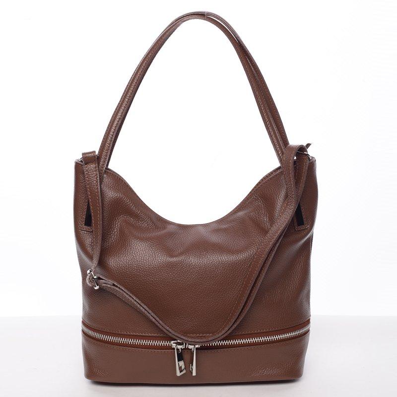 Dámská stylová kožená kabelka přes rameno hnědá - ItalY Acness