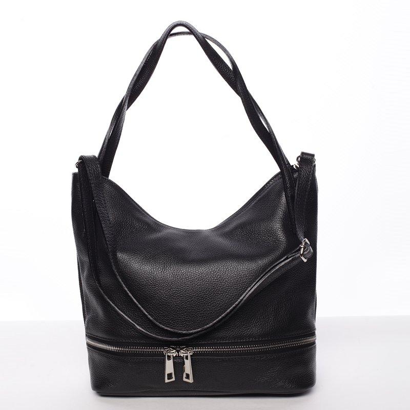 Dámská stylová kožená kabelka přes rameno černá - ItalY Acness