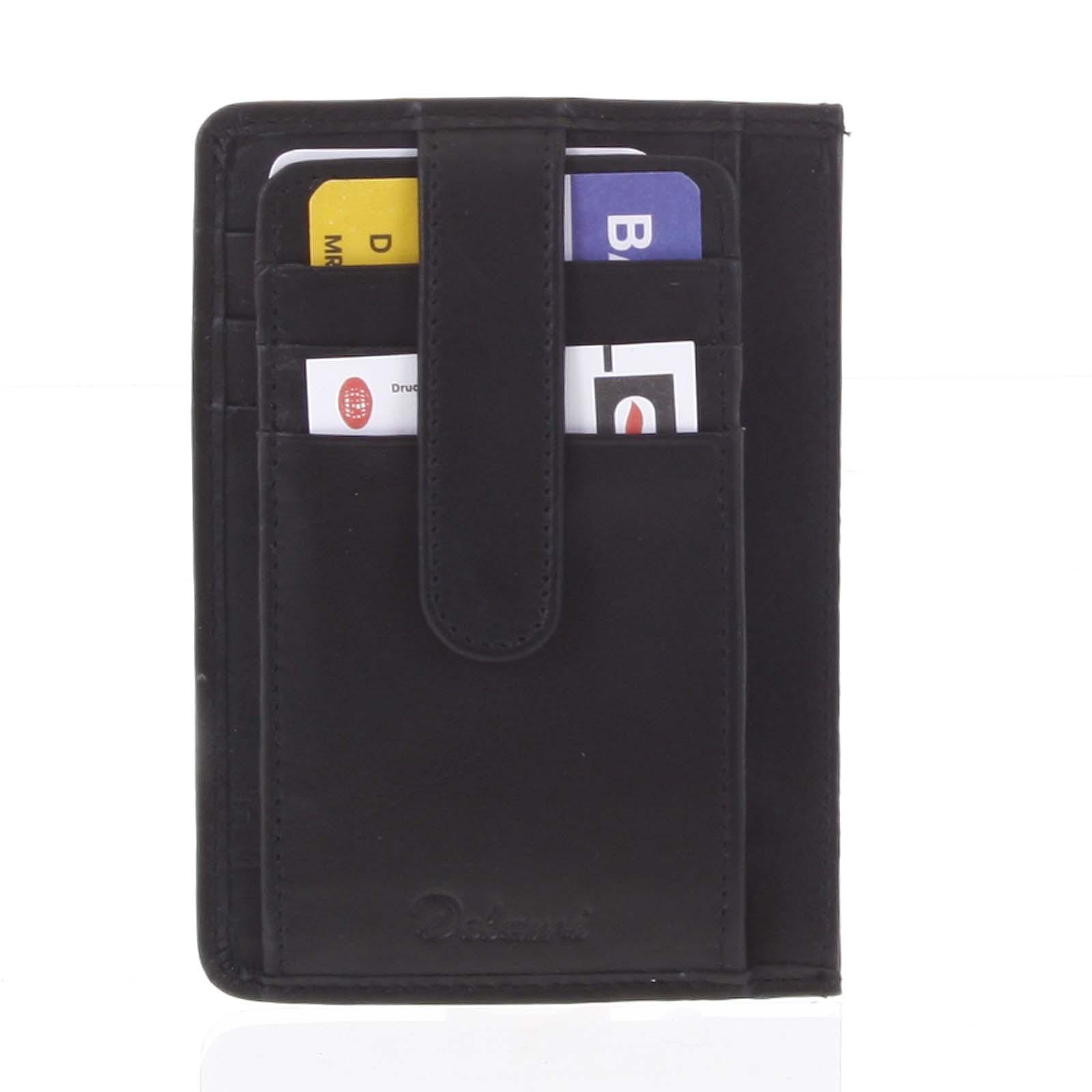 Jednoduchá černá kožená peněženka do kapsy - Delami 9393