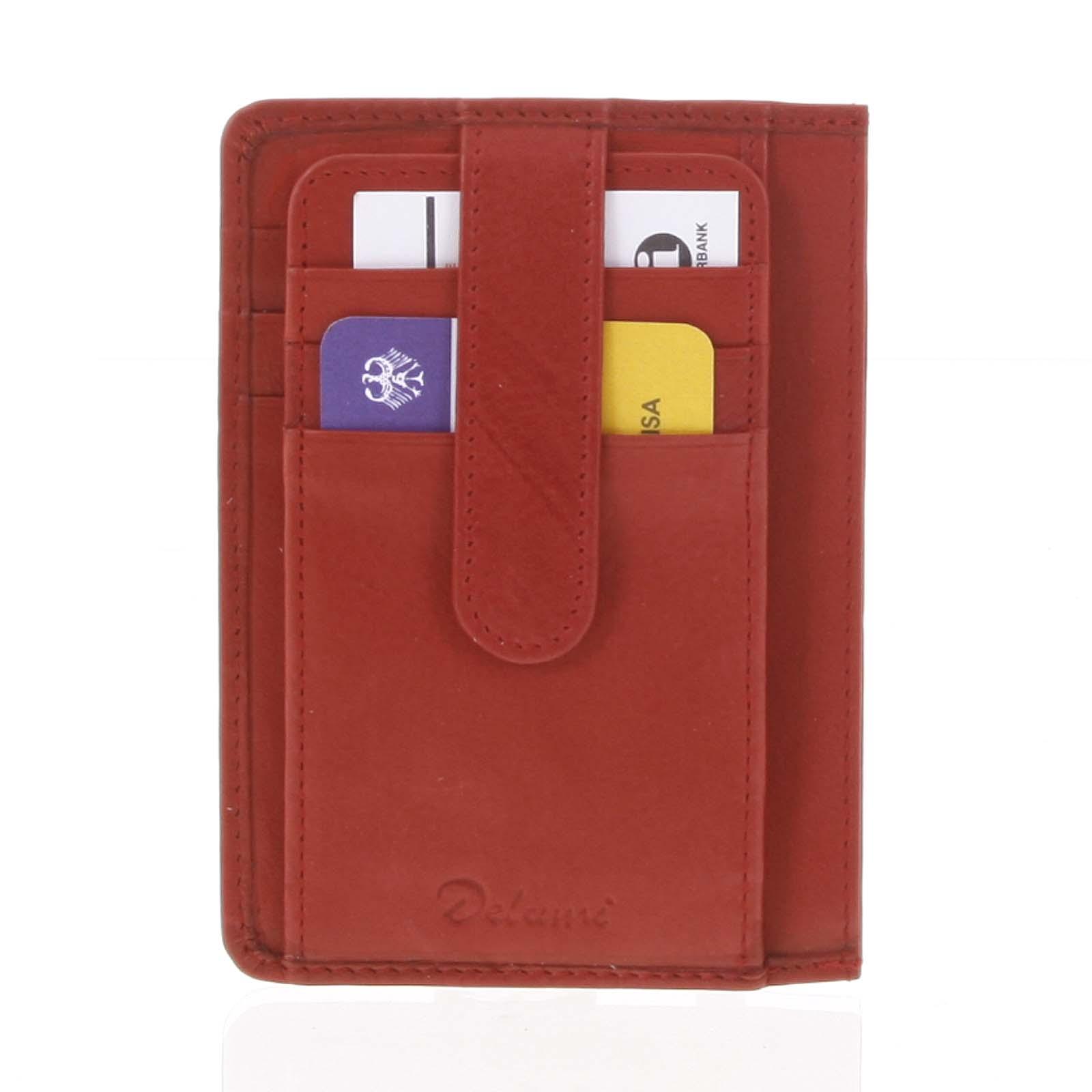 Jednoduchá červená kožená peněženka do kapsy - Delami 9393
