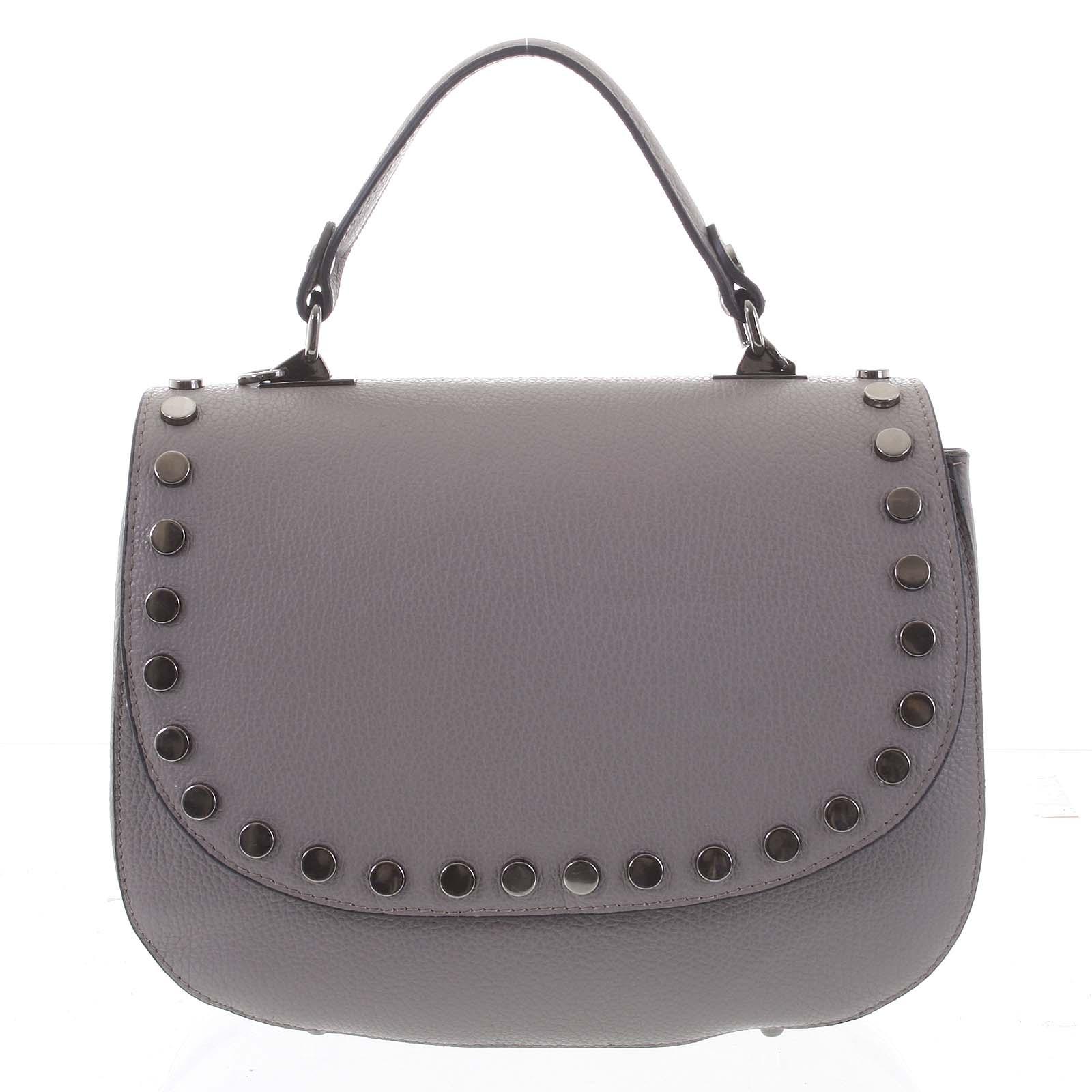 Originální zakulacená šedá kabelka do ruky - ItalY Aethra