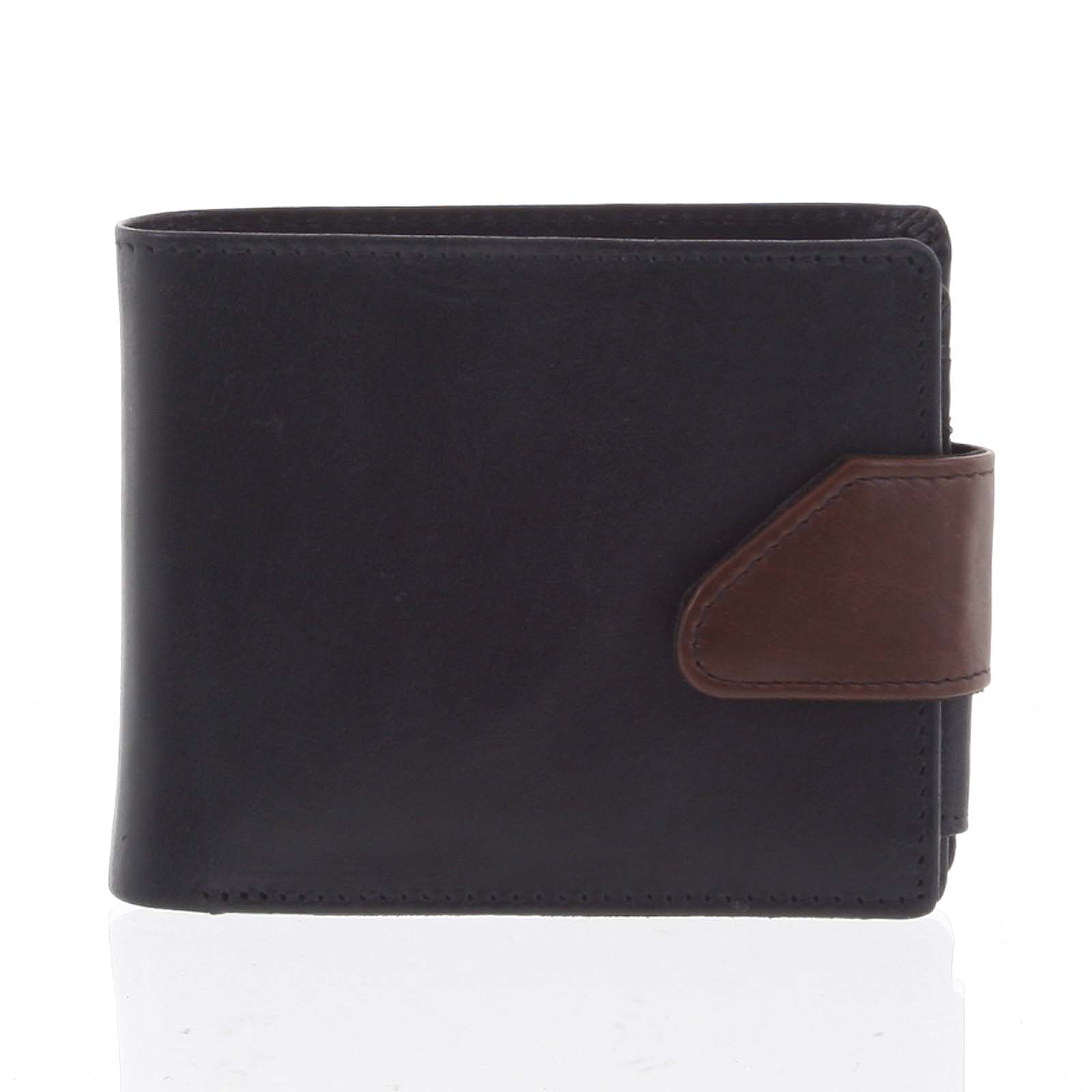 Hladká pánská černá kožená peněženka - Tomas 76VT