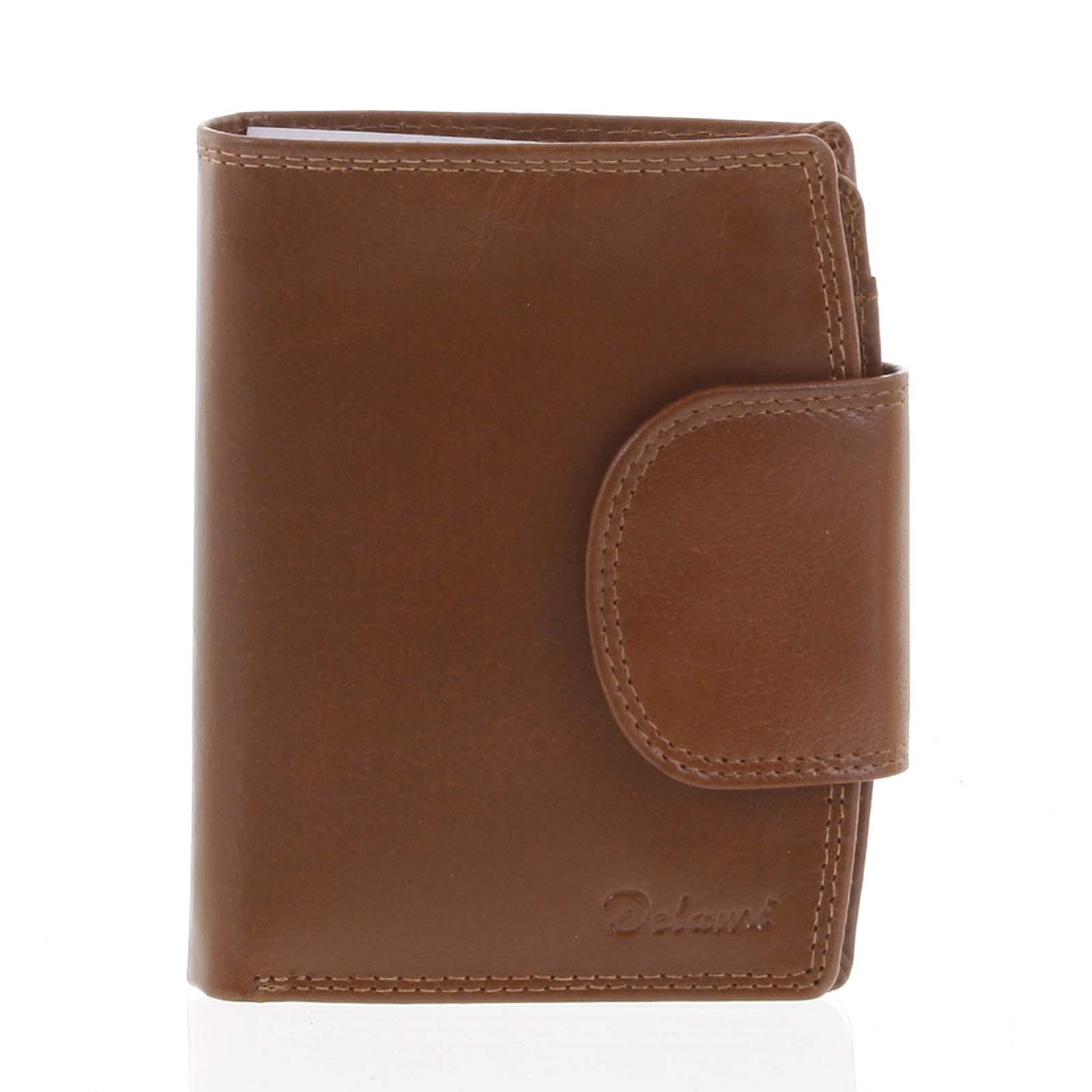 Kožená elegantní světle hnědá peněženka pro muže - Delami 1342CHA