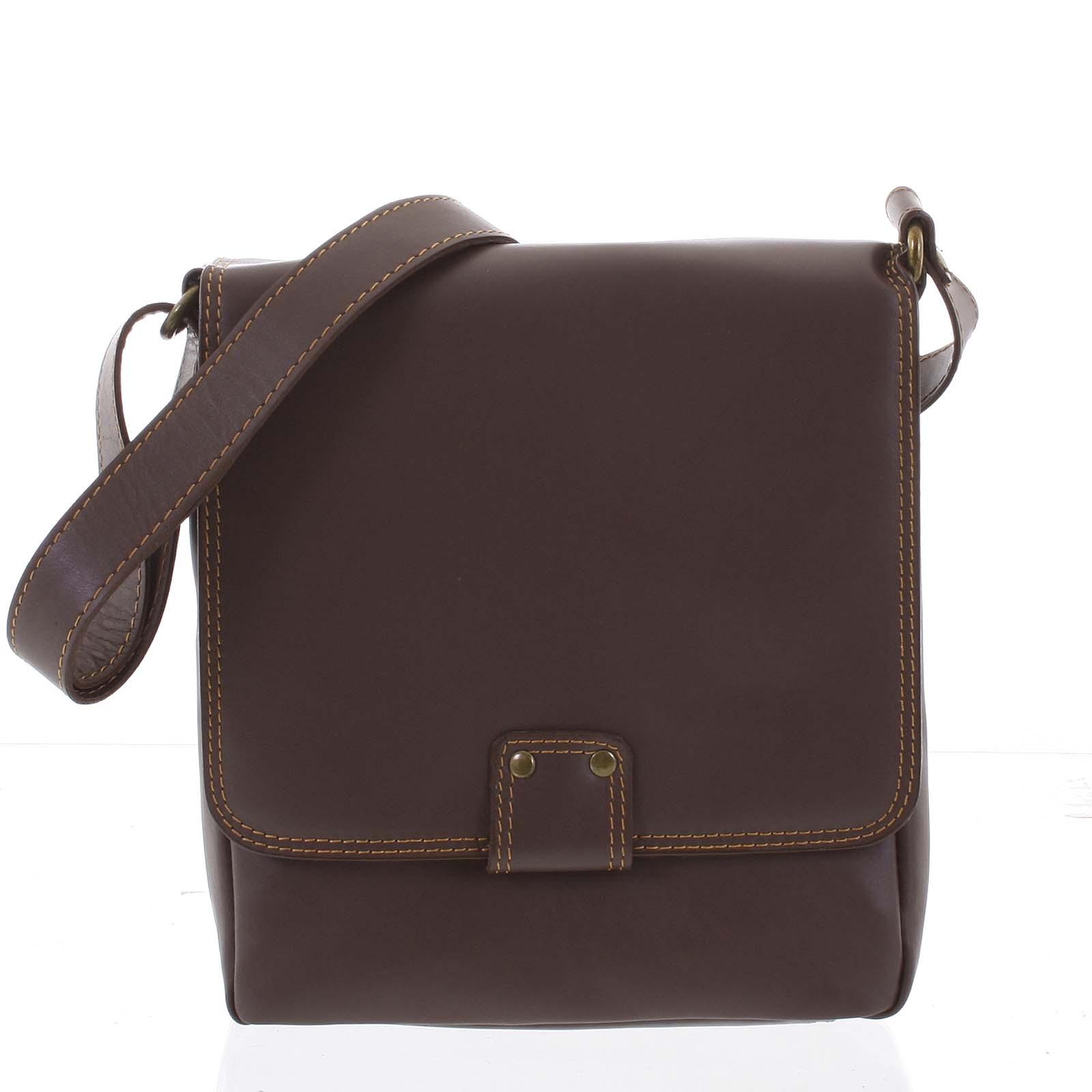 Luxusní kožená taška přes rameno oříškově hnědá - ItalY Tristen