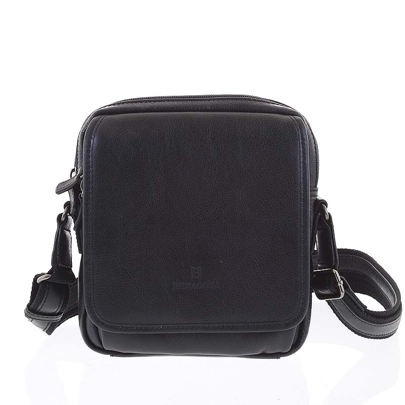 Luxusní černá kožená taška přes rameno Hexagona 129898
