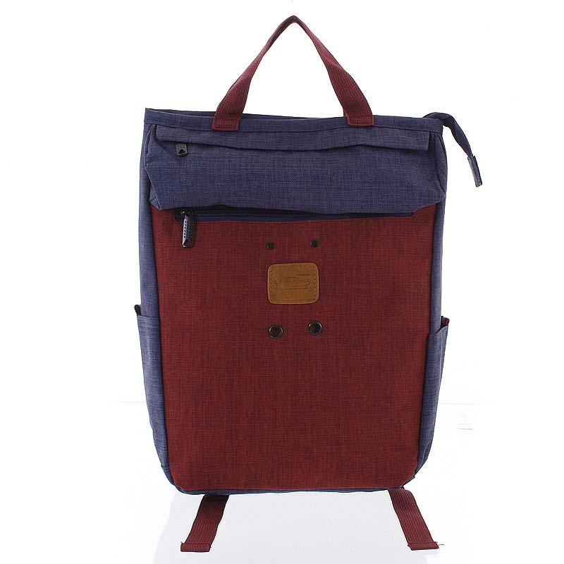 Stylový modro-červený látkový batoh - New Rebels Javan