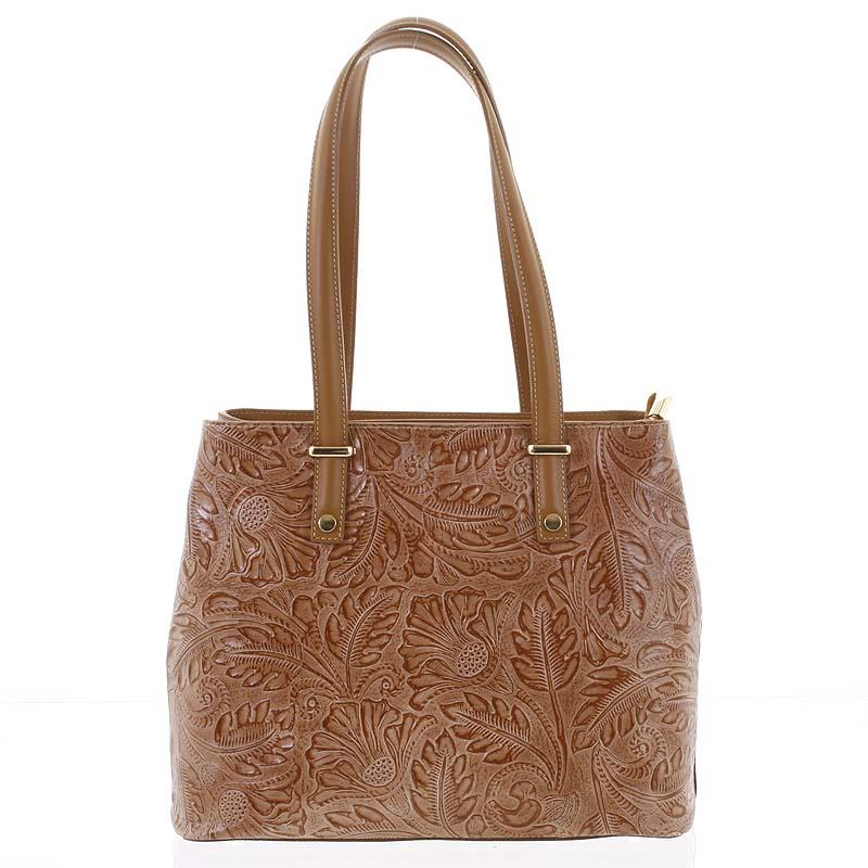 Exkluzivní dámská kožená kabelka tmavší koňaková - ItalY Logistilla