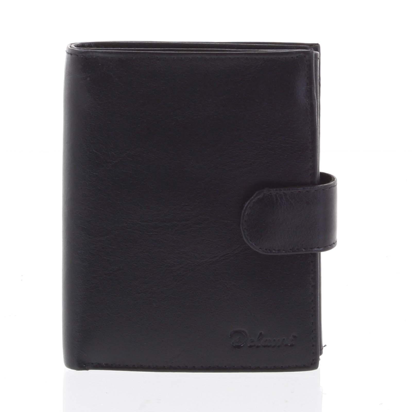 Pánská kožená černá peněženka se zápinkou - Delami Lunivers