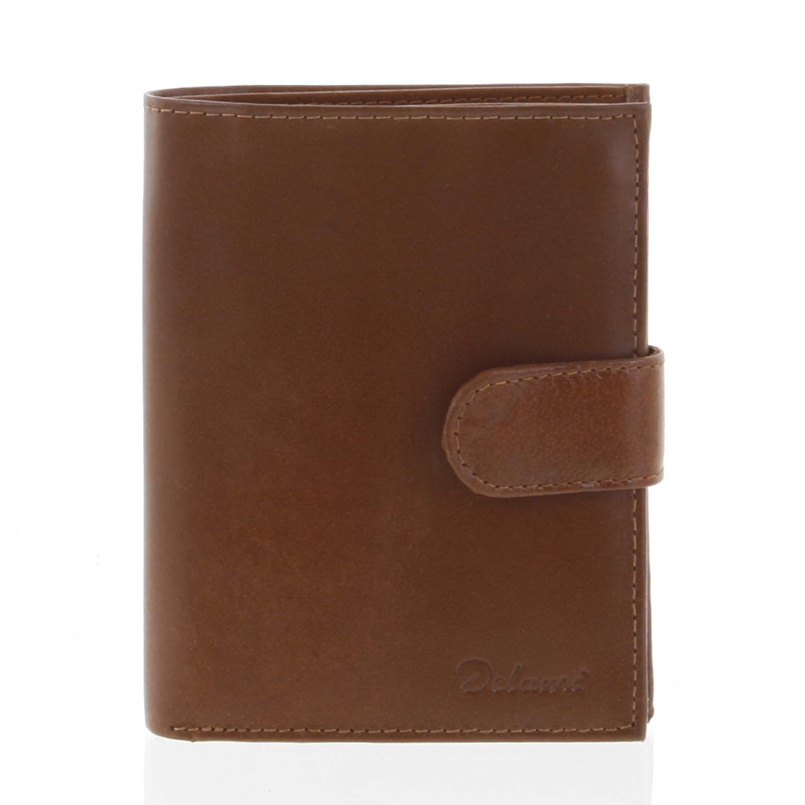 Pánská kožená světle hnědá peněženka se zápinkou - Delami Lunivers