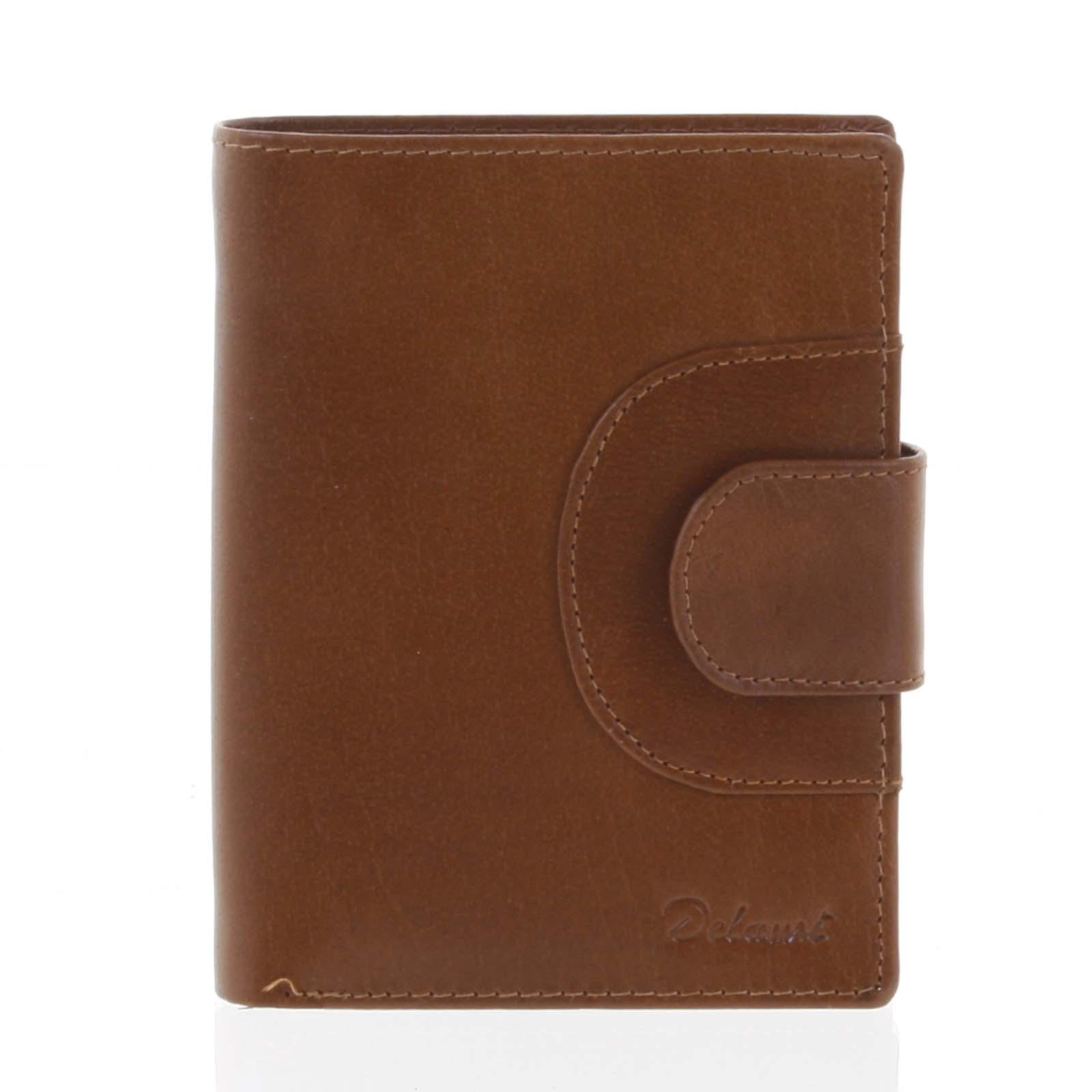 Elegantní pánská kožená světle hnědá peněženka - Delami Norm
