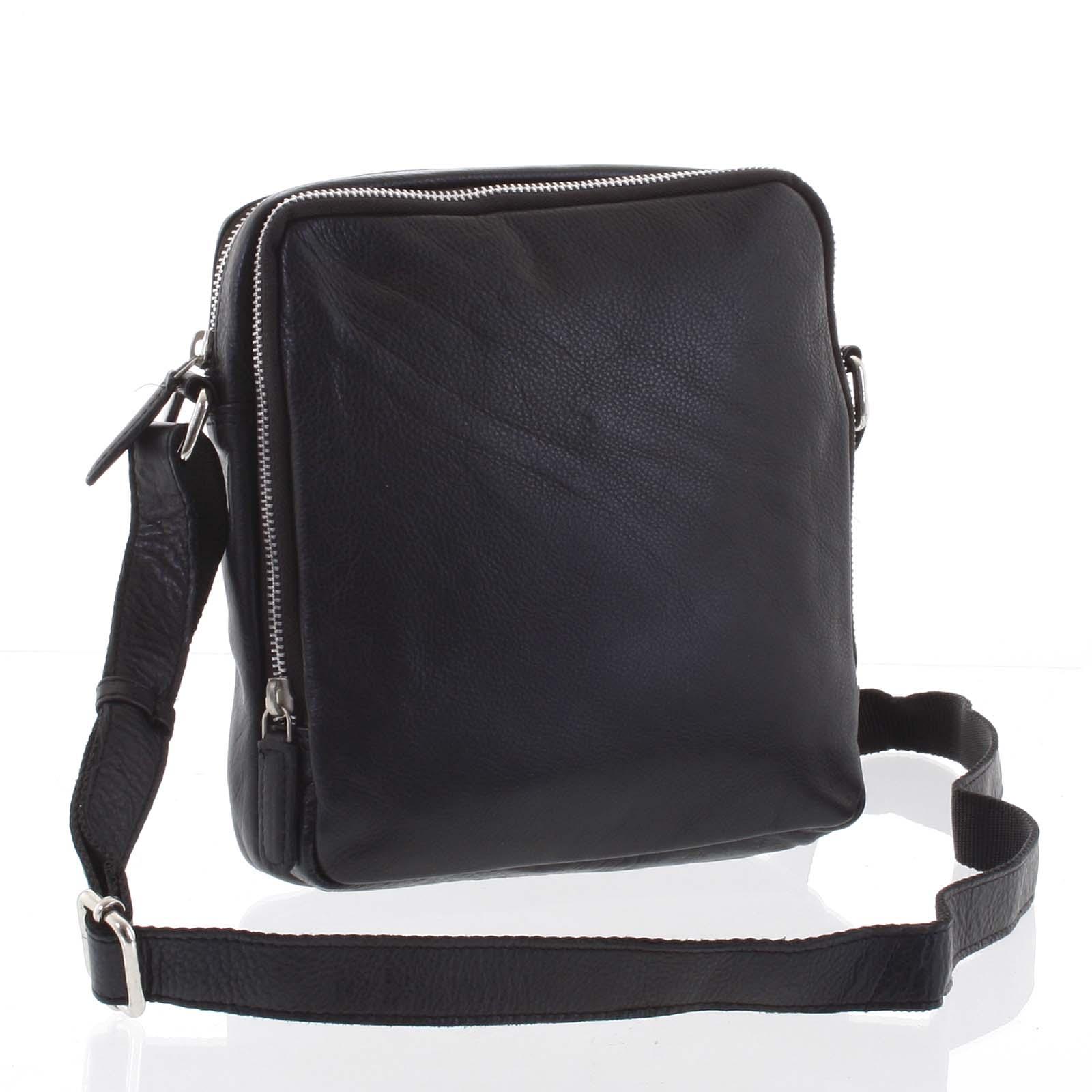 Lehká praktická kožená černá crossbody taška - Tomas Linive