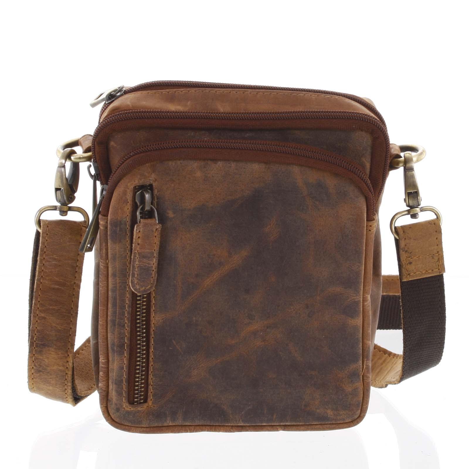 Přírodní hnědá pánská kožená taška na doklady - Tomas Svemir
