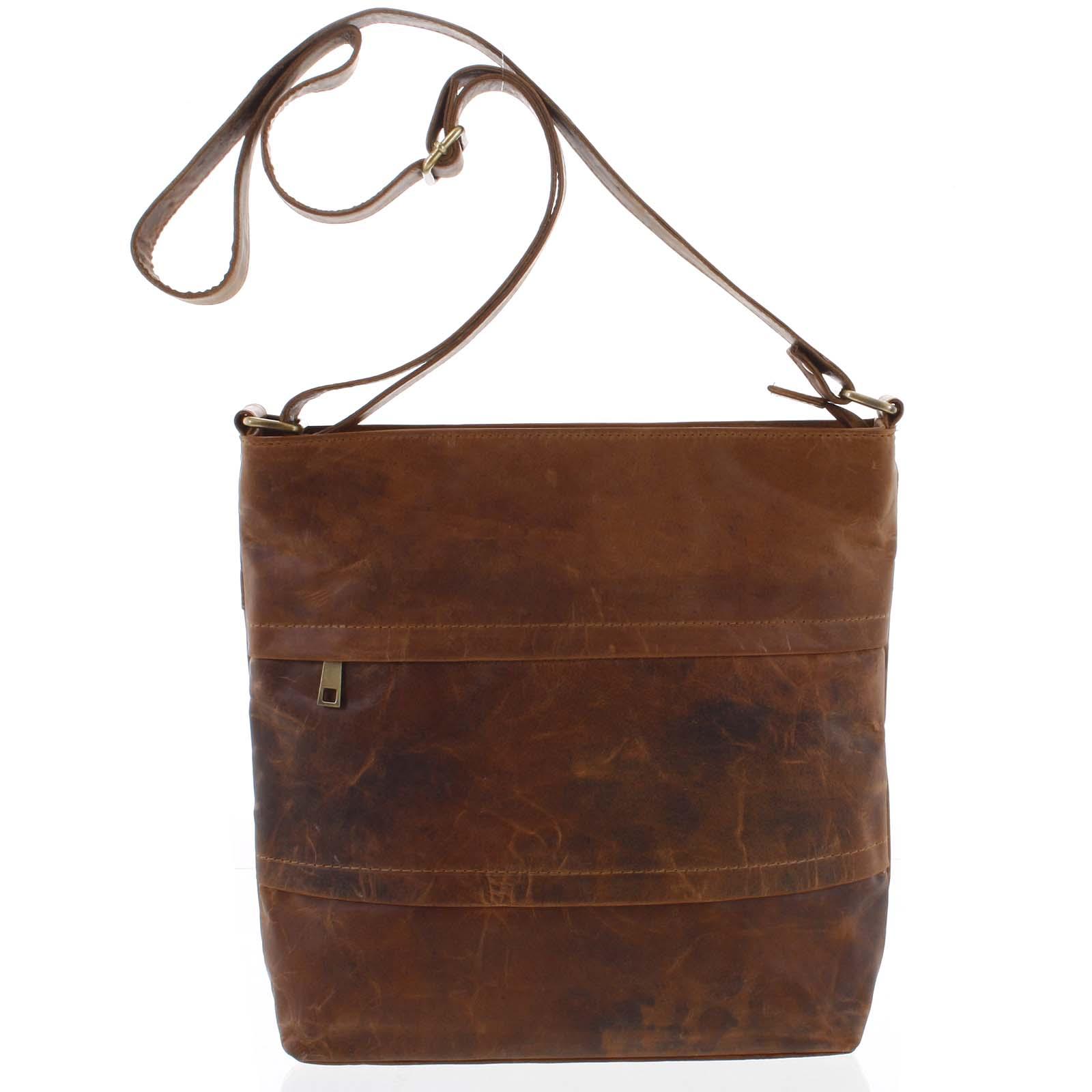 Velká přírodní hnědá kožená crossbody taška - Tomas Maand