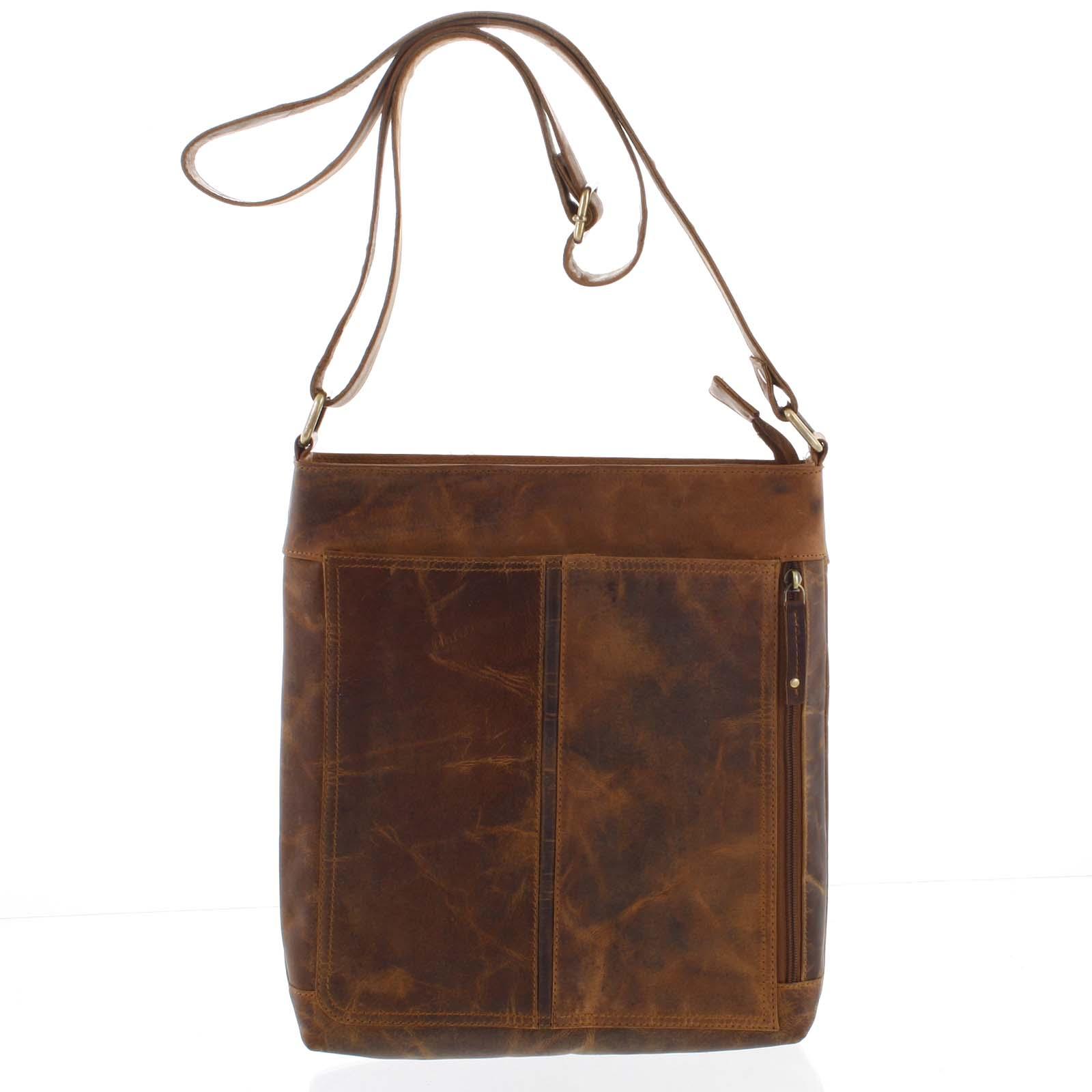 Přírodní hnědá pánská středně velká kožená taška - Tomas Duniy