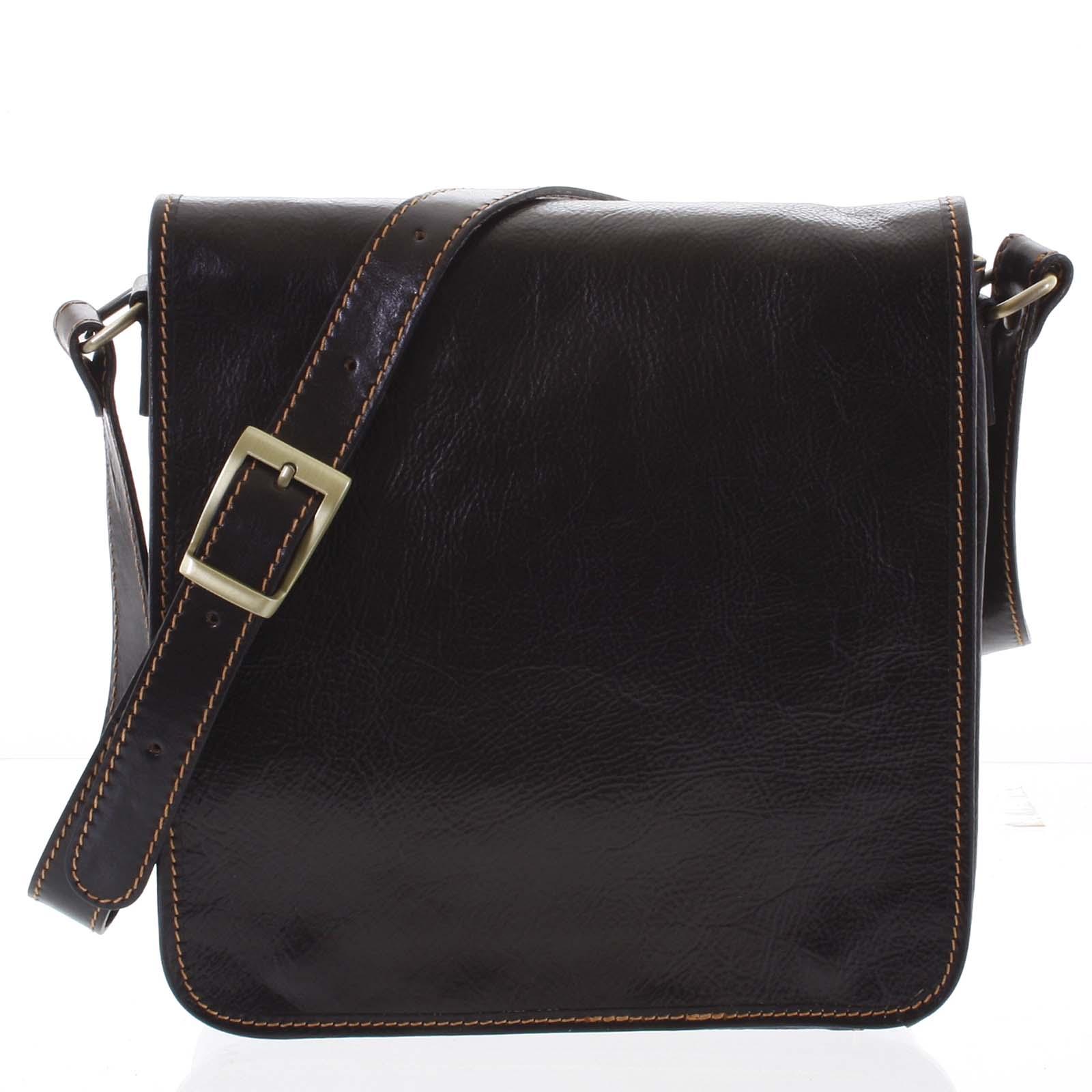 Pánská luxusní kožená taška přes rameno tmavě hnědá - ItalY Jamar