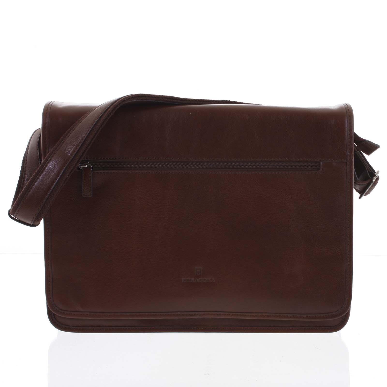Kaštanově hnědá kožená business taška Hexagona 123482