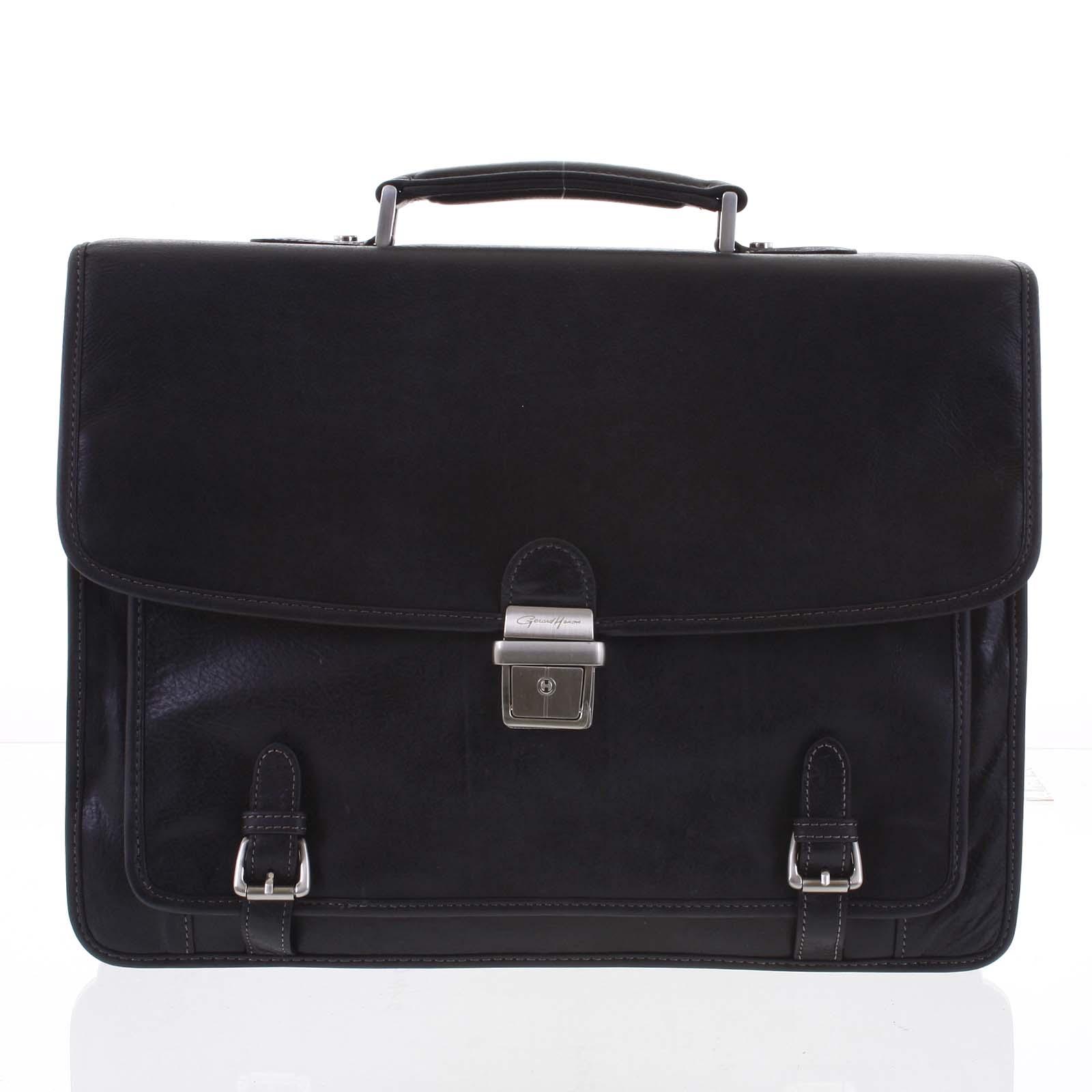 Velká luxusní černá pánská kožená aktovka - Gerard Henon Danny