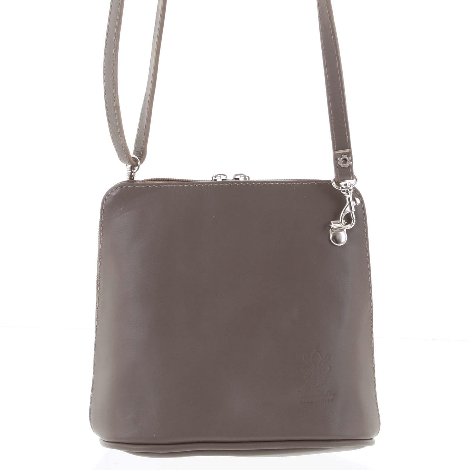Dámská kožená crossbody kabelka šedo hnědá - ItalY 10053