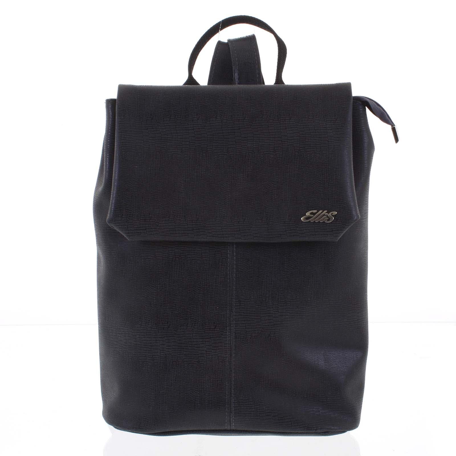 Větší měkký dámský moderní černý batoh - Ellis Elizabeth