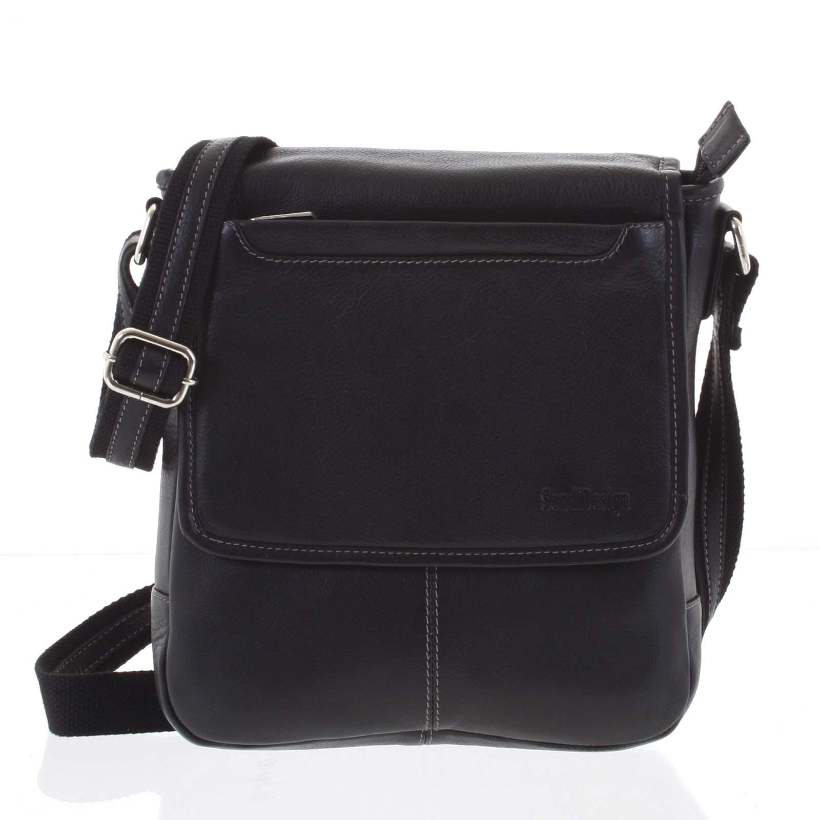 Stylová černá prošívaná pánská kožená taška - Sendi Design Luis