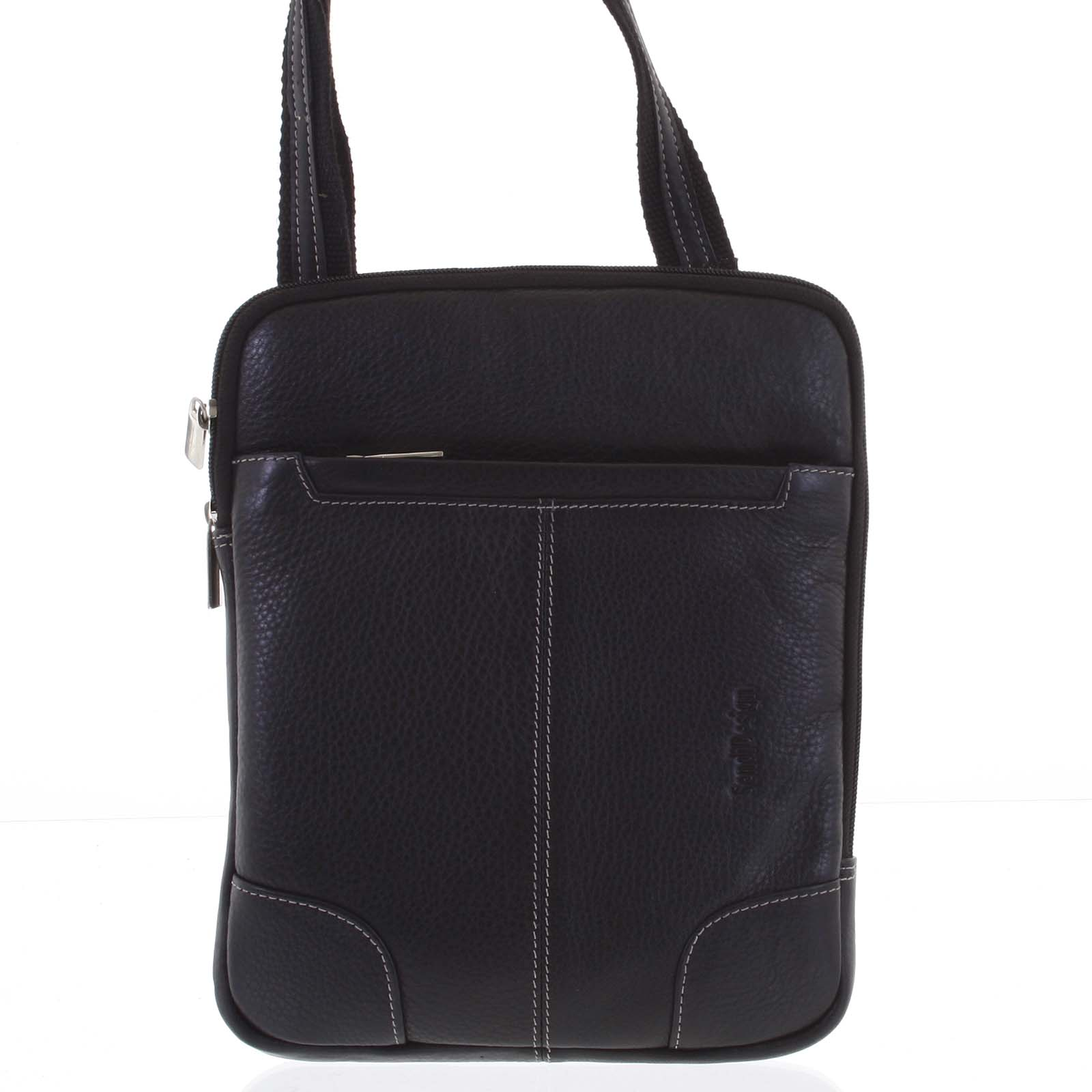 Černá prošívaná pánská kožená taška přes rameno - Sendi Design Hans