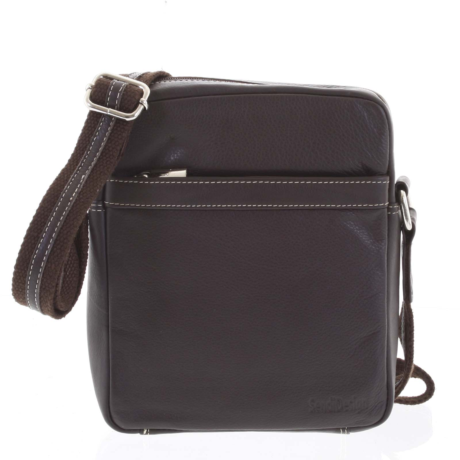 Luxusní hnědá kožená taška IG711