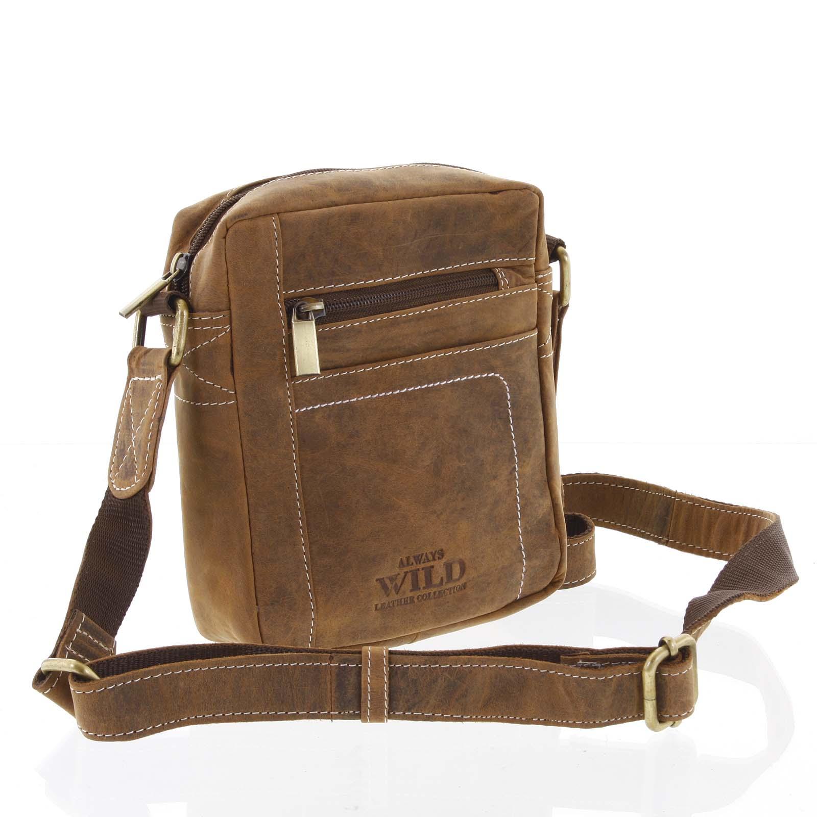 Pánská kožená taška přes rameno světle hnědá - WILD Mason