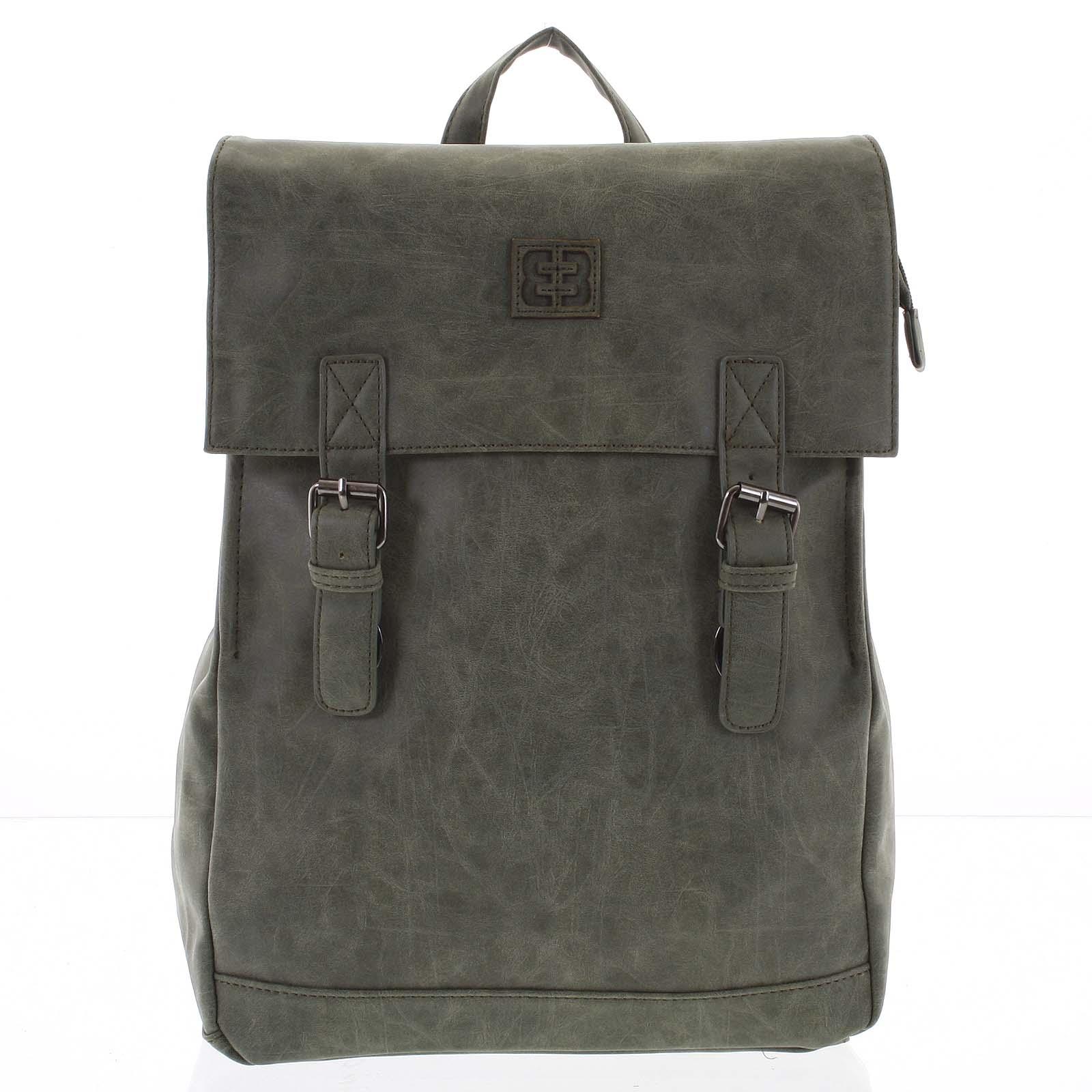 Módní stylový batoh olivově zelený - Enrico Benetti Travers