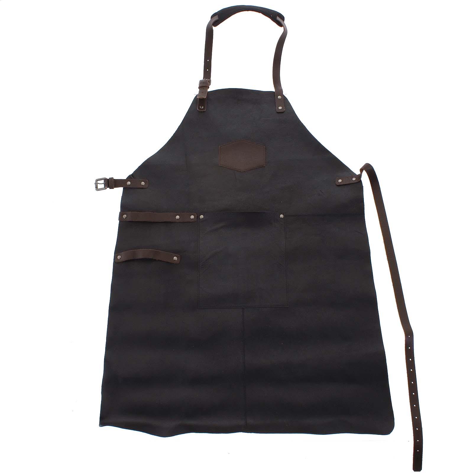 Kožená pánská grilovací zástěra černá - OLD WEST Master
