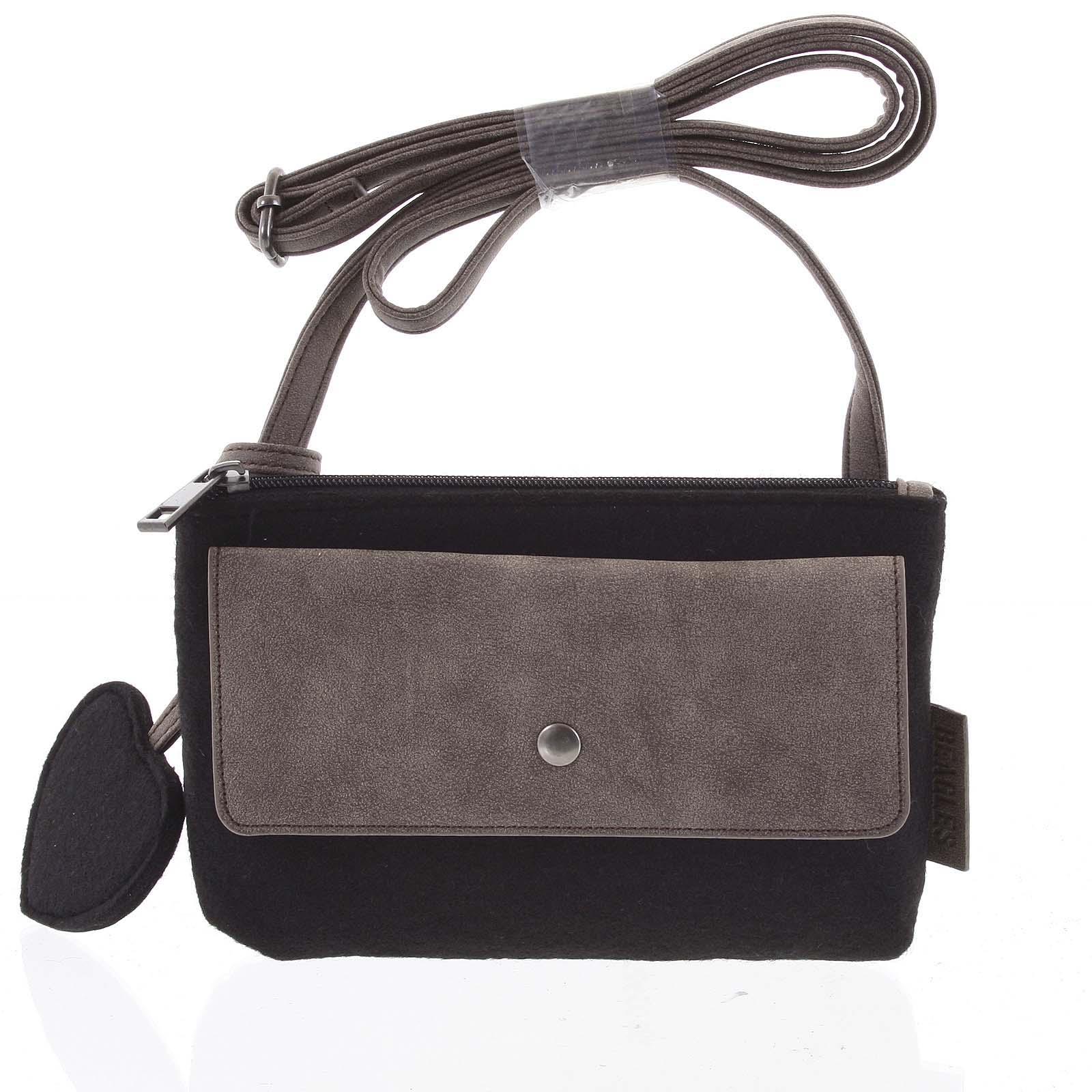 Filcová crossbody kabelka černá - Beagles Laser