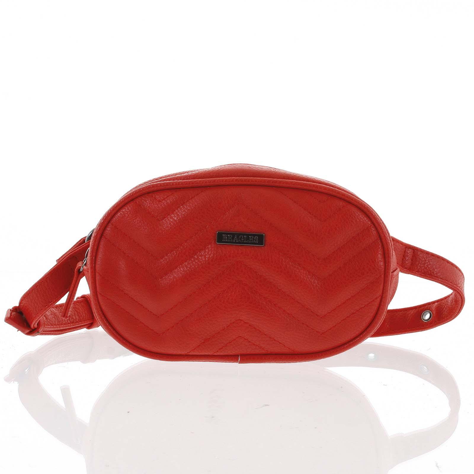 Malá dámská crossbody kabelka/ledvinka červená - Beagles Tima